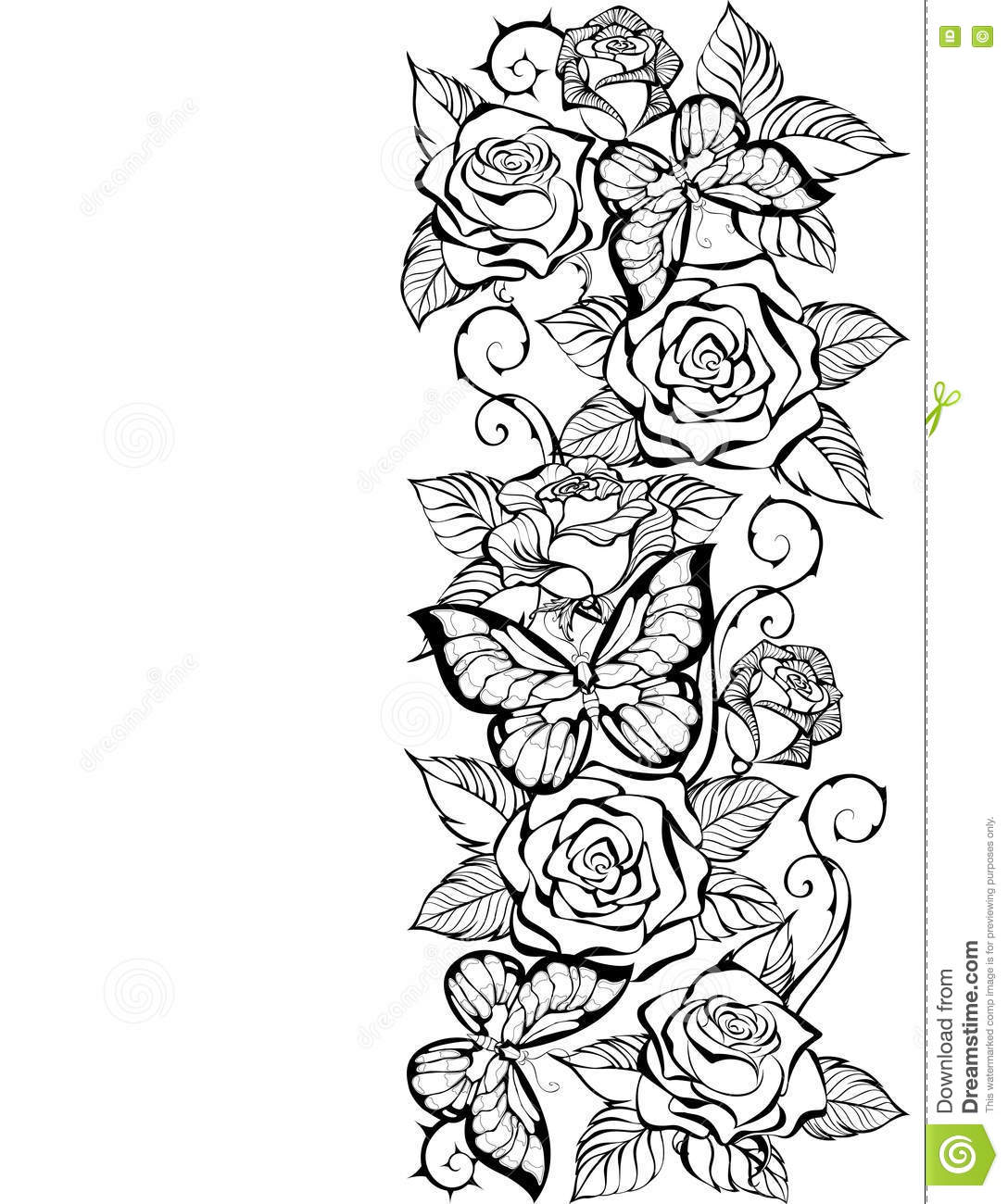 Rose coloring pages border