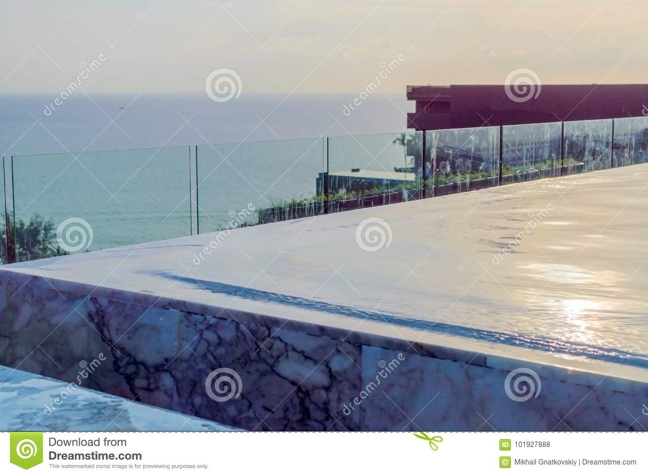 Edge Of Overflow Swimming Pool. Water Cascade Stock Photo - Image of ...