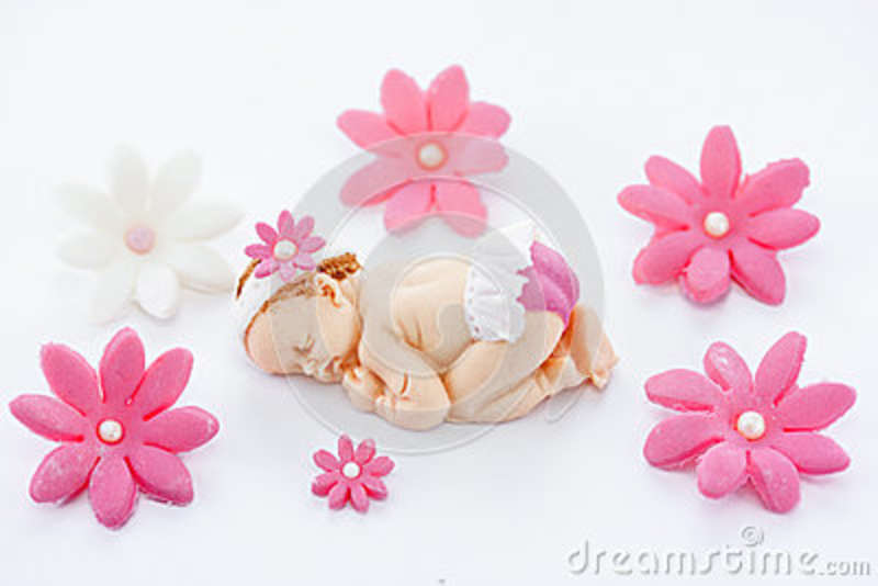Edible Fondant Sleeping Baby Girl And Flowers Cake Topper For Decoration Christening Birthday