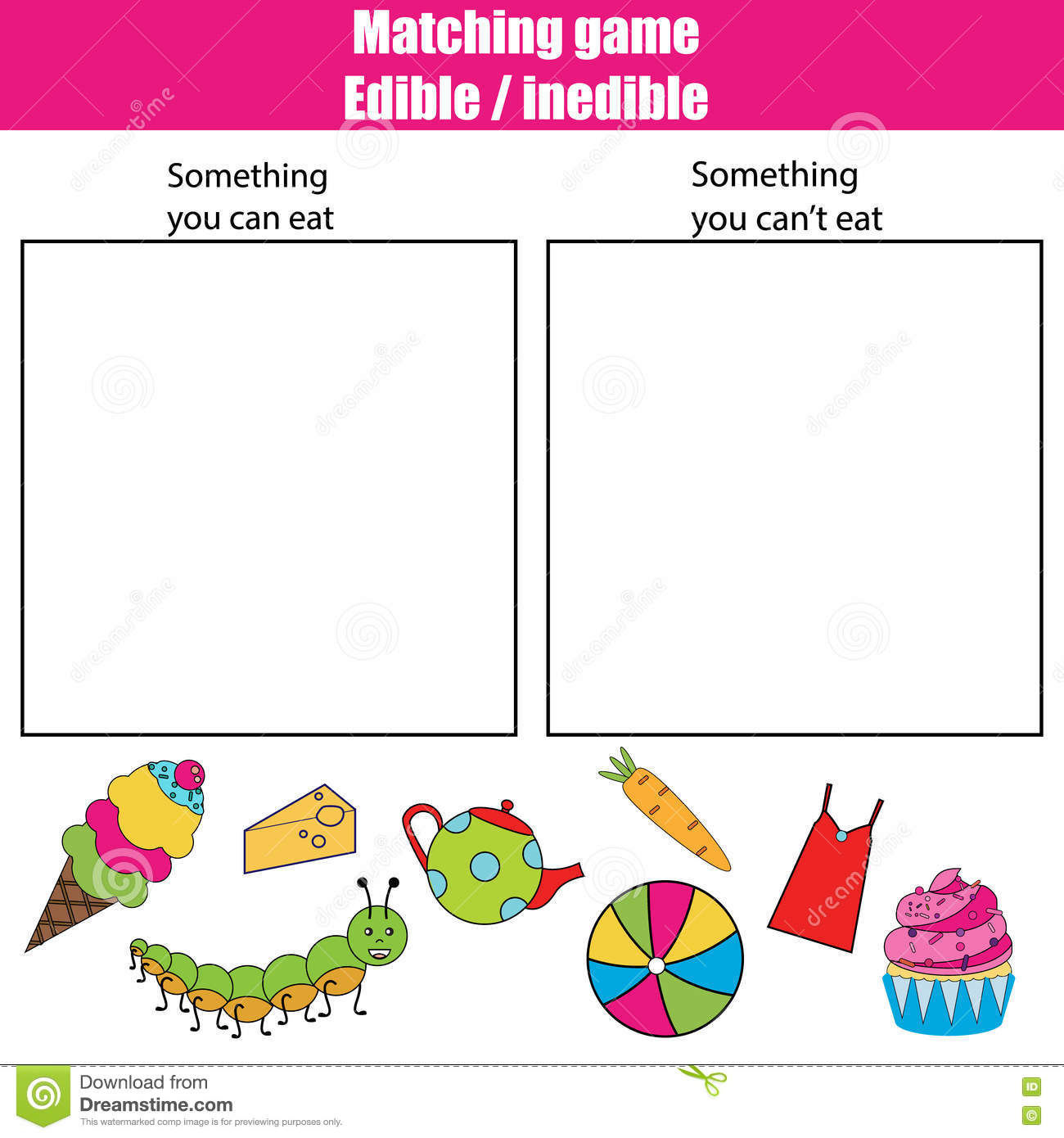 royalty free stock photo download edible inedible educational children game kids activity sheet
