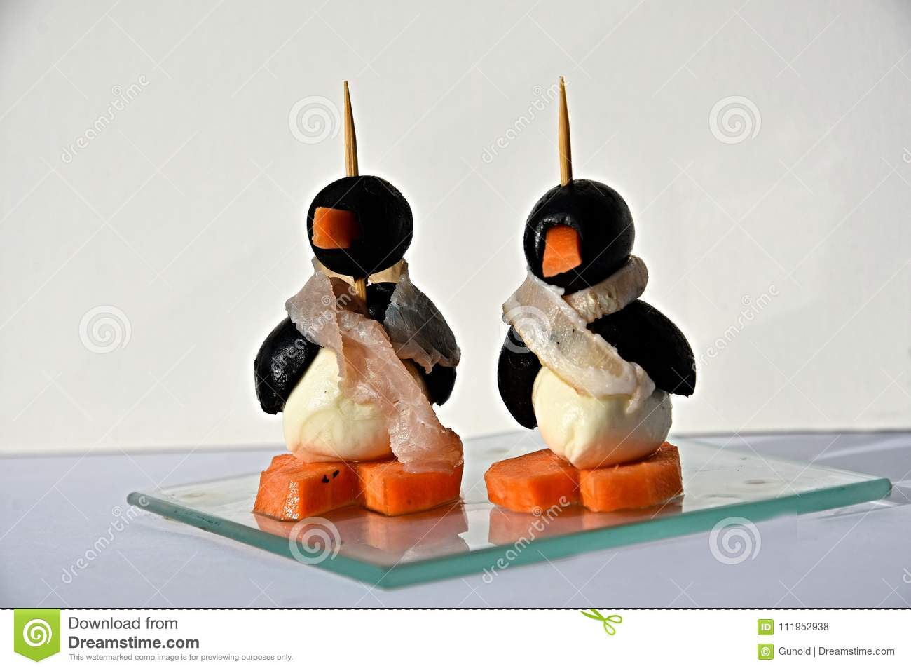 Finger Food Funny Edible Small Penguins Stock Photo Image Of