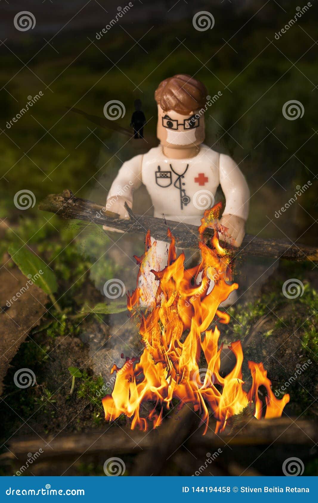 Edición de una figura del lego que hace una hoguera