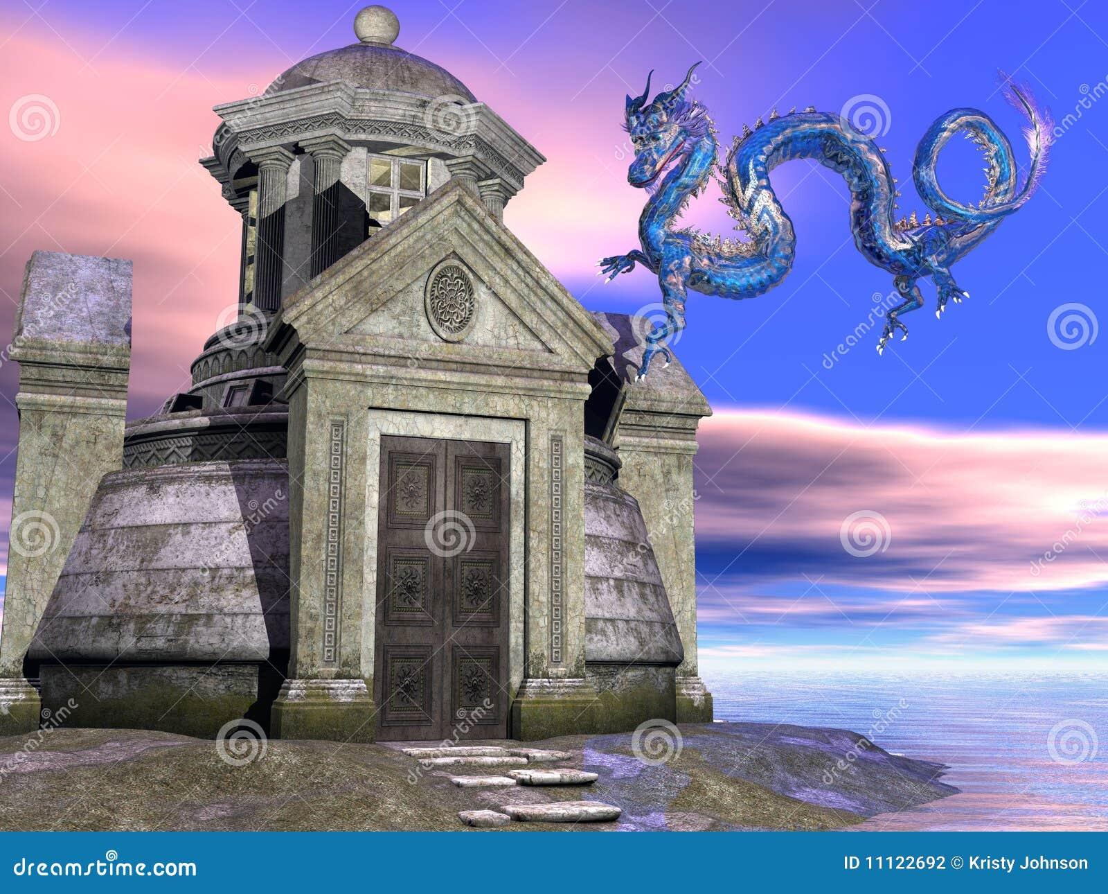 Edifício e dragão antigos