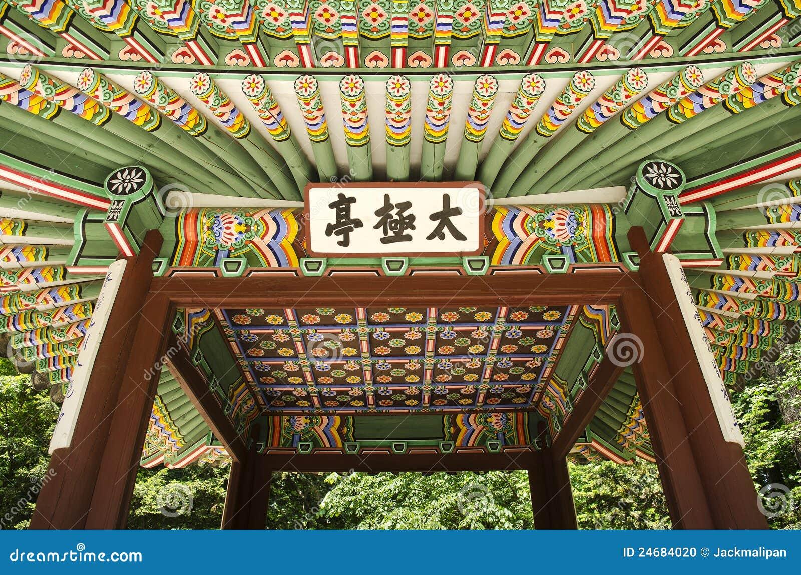 Edifício pintado de madeira seoul Coreia do Sul do palácio