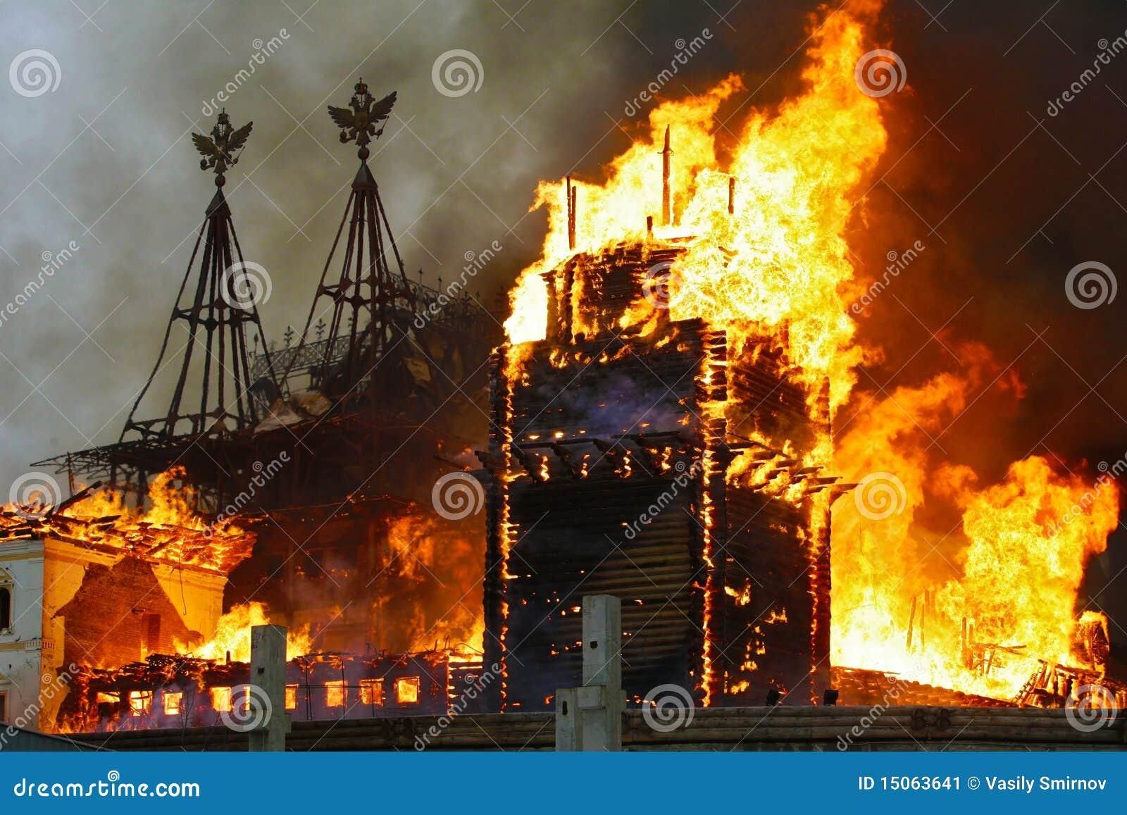Edifício urbano no incêndio