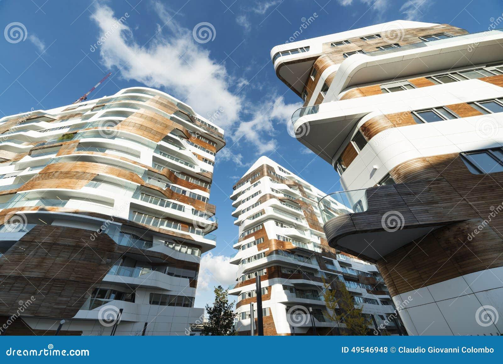 edifici residenziali moderni a milano fotografia stock