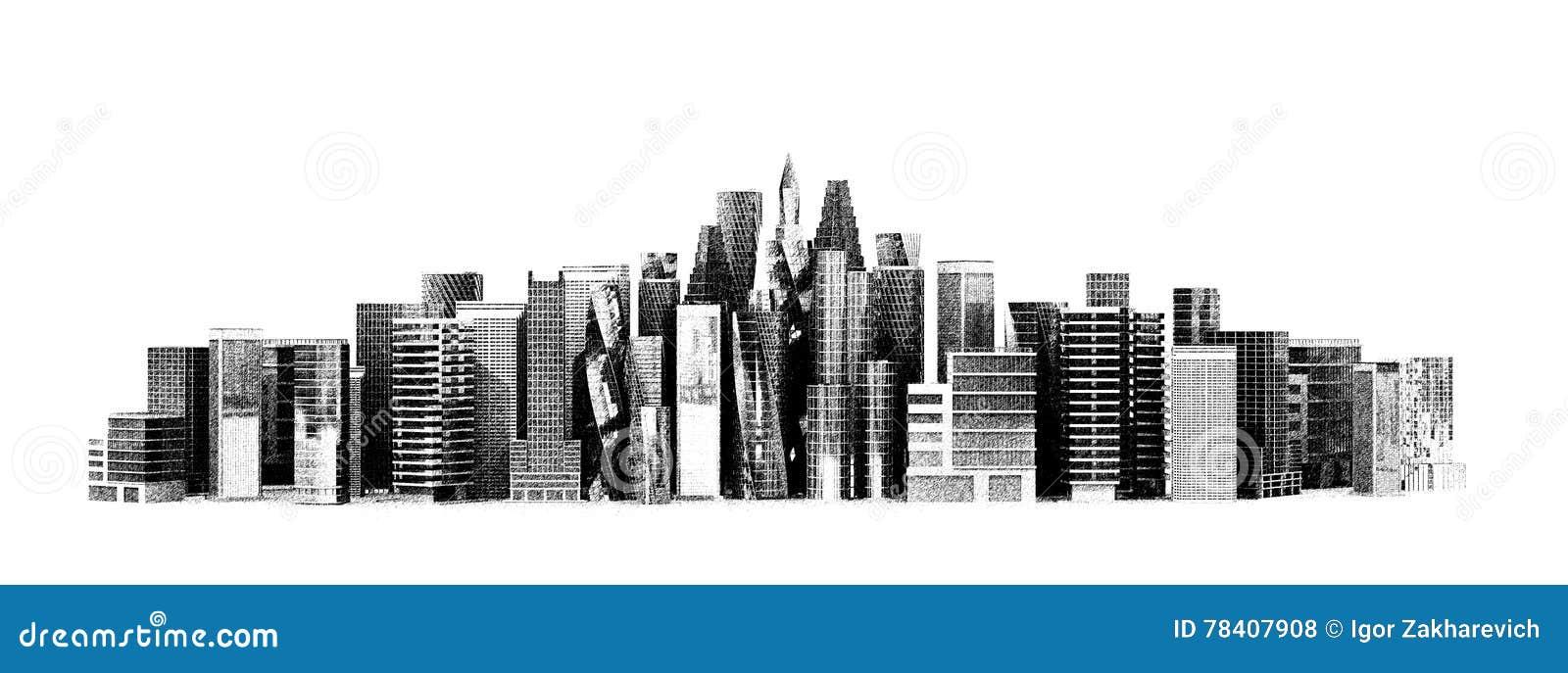 Edificio arquitectónico en la visión panorámica