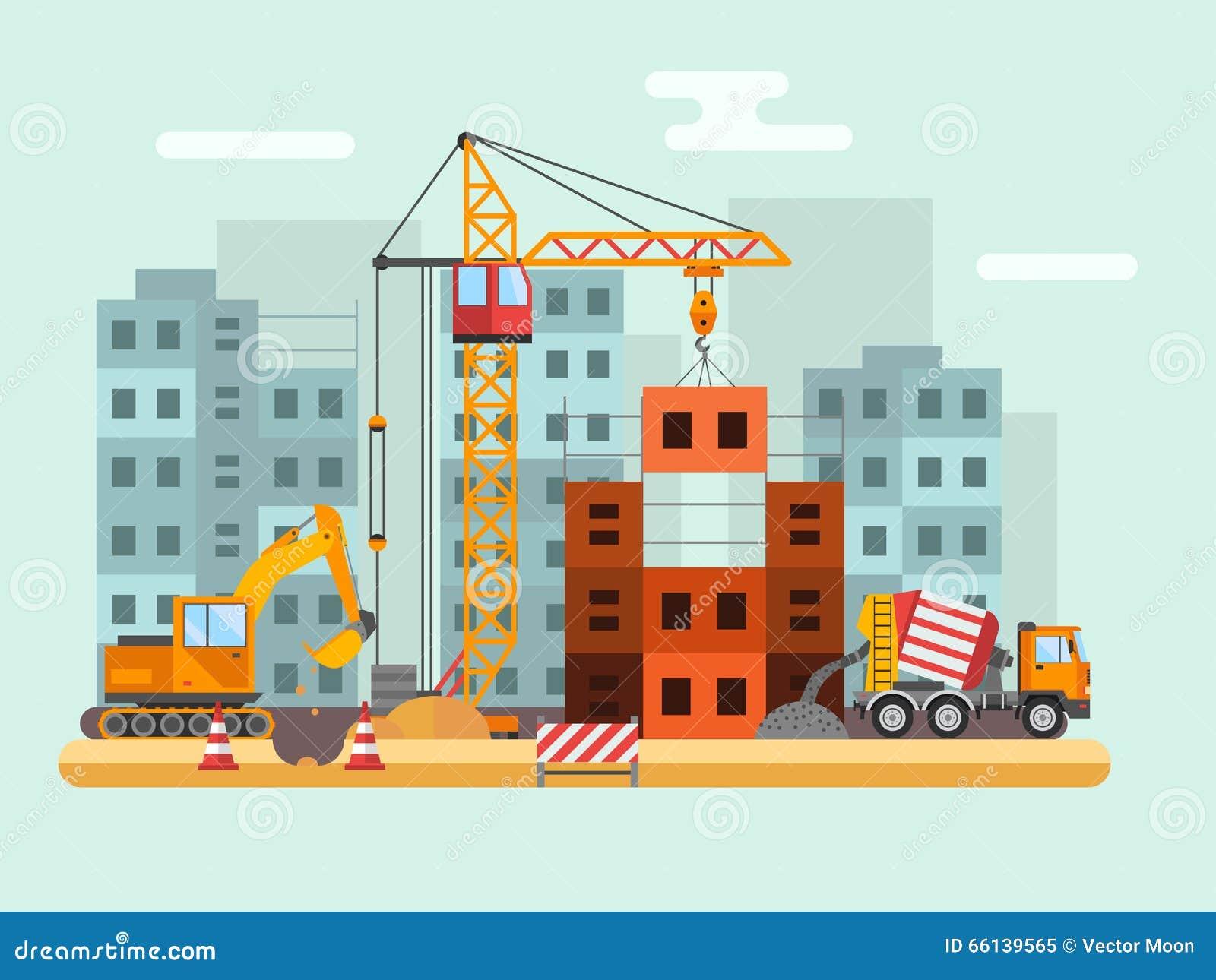 Edificio bajo la construcción, trabajadores y ejemplo técnico del vector de la construcción