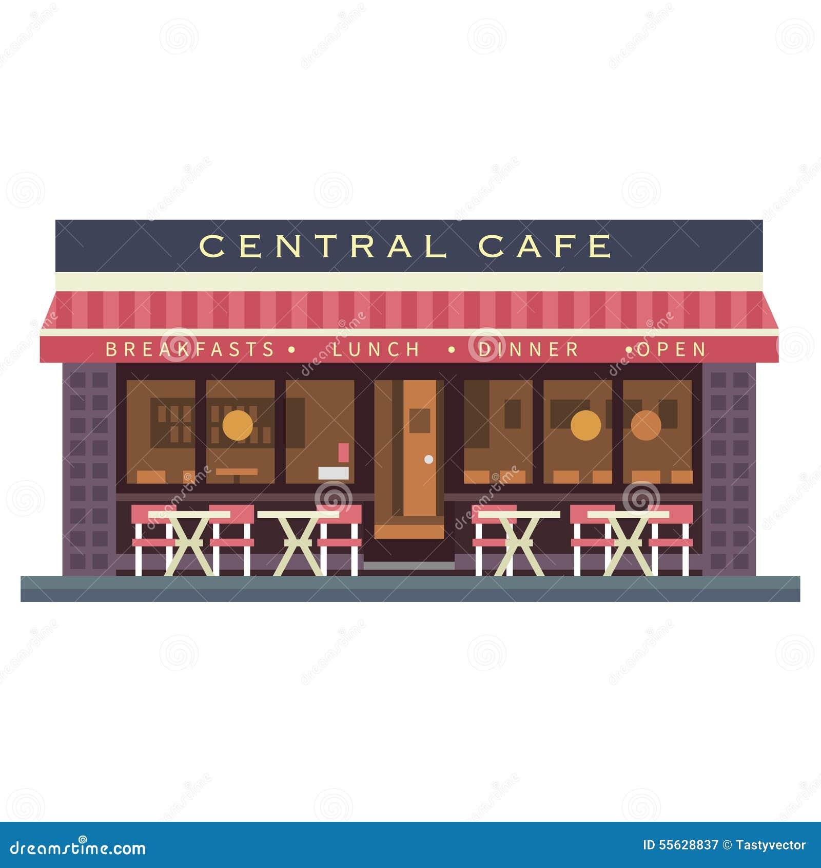 Edificio Central Del Café Terraza Del Verano Stock De