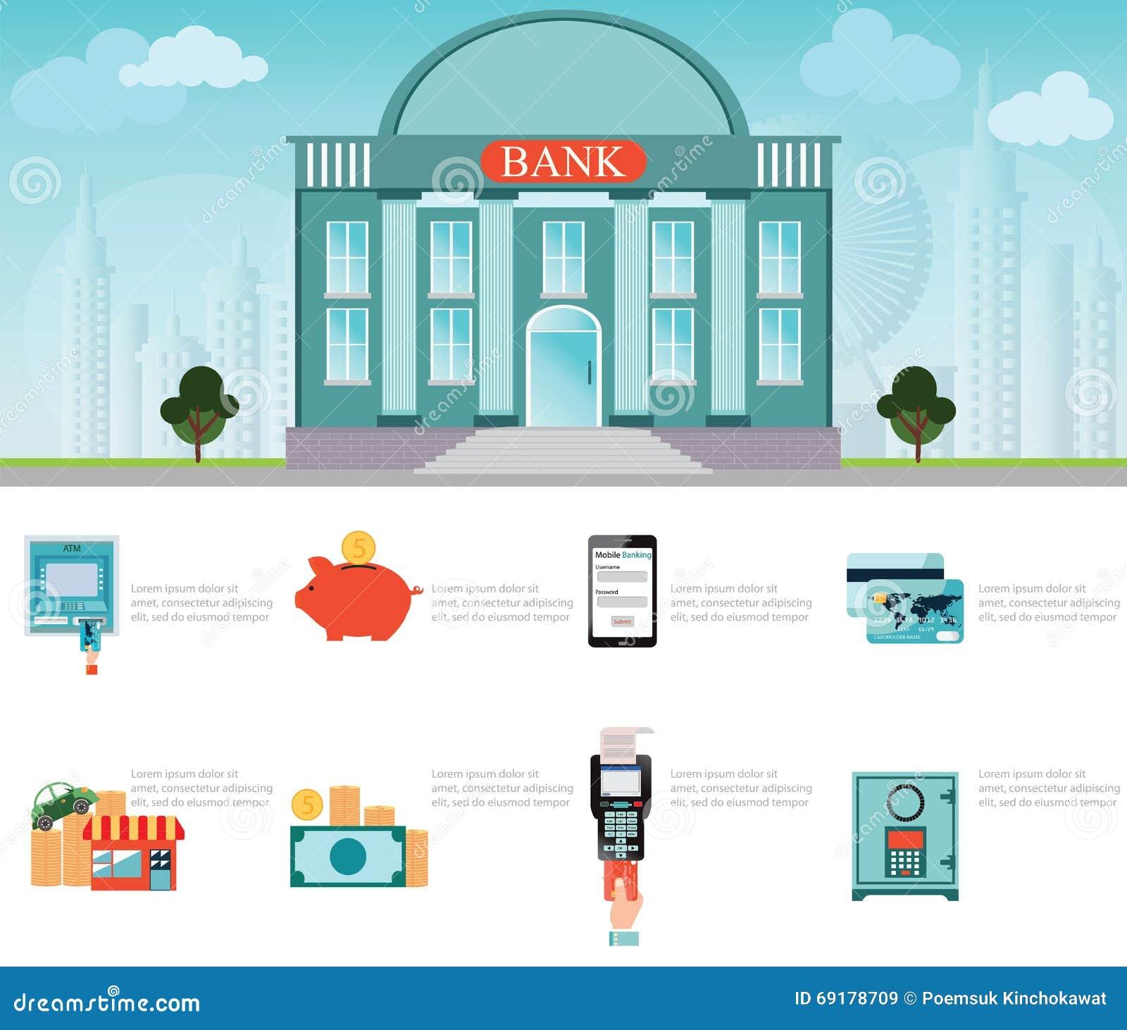 Edificio de banco exterior en paisaje urbano ilustraci n for Pagina del banco exterior