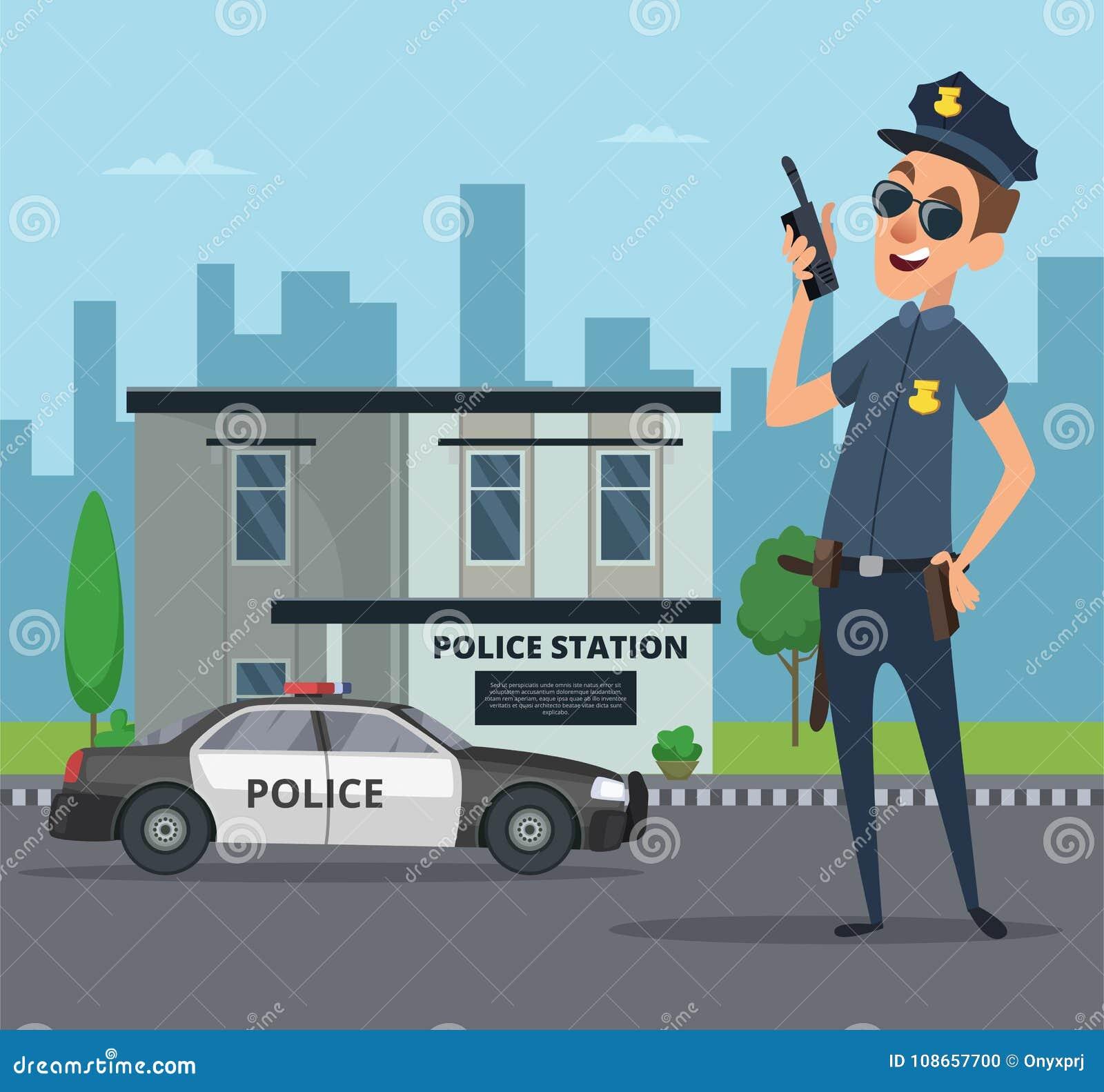 Edificio De La Comisaría De Policías Y Personaje De Dibujos Animados ...