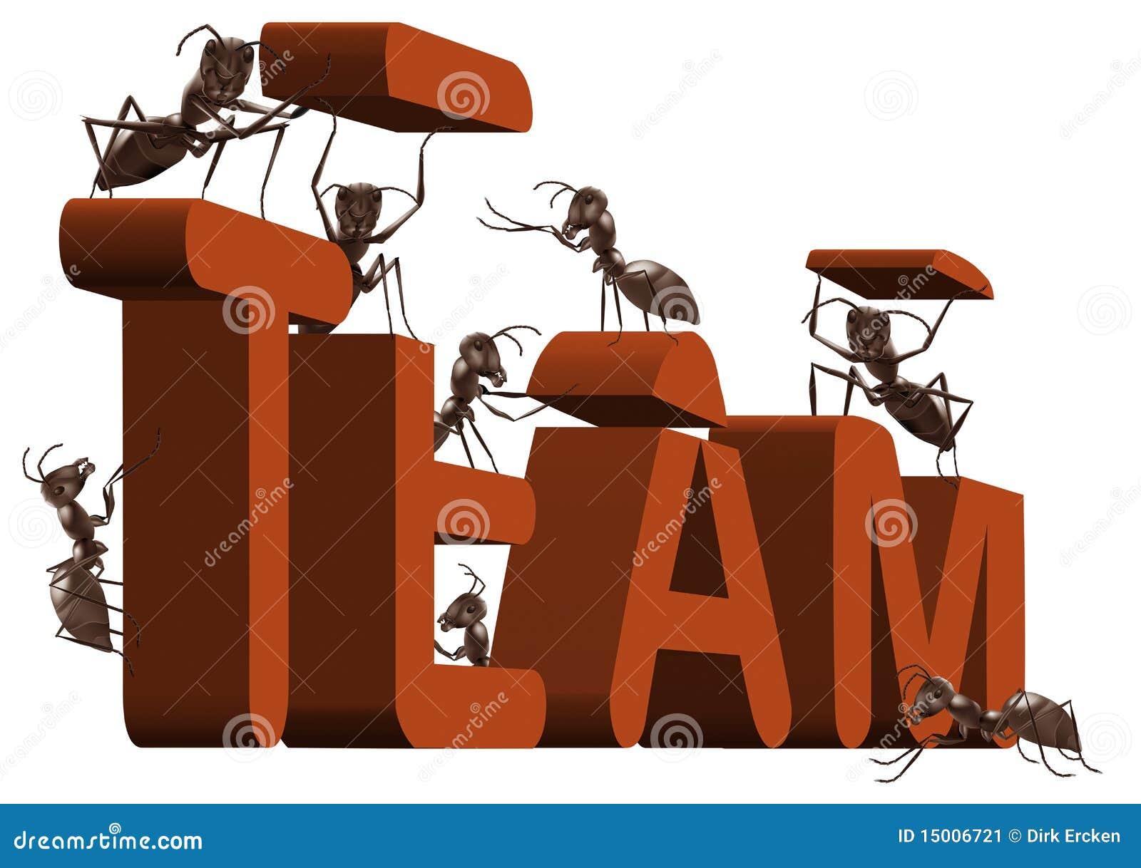 Edificio de personas del trabajo en equipo de la hormiga