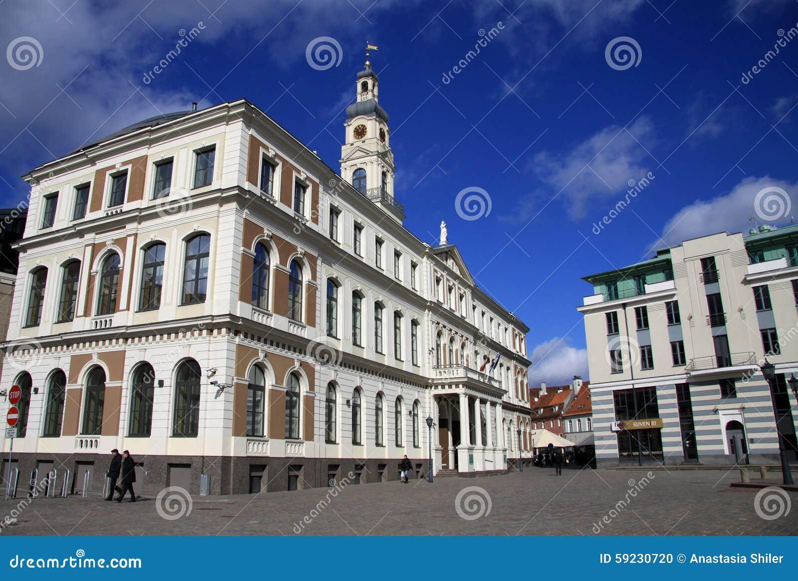 Download Edificio Del Ayuntamiento De Riga En La Ciudad Hall Square Imagen editorial - Imagen de urbano, fachada: 59230720