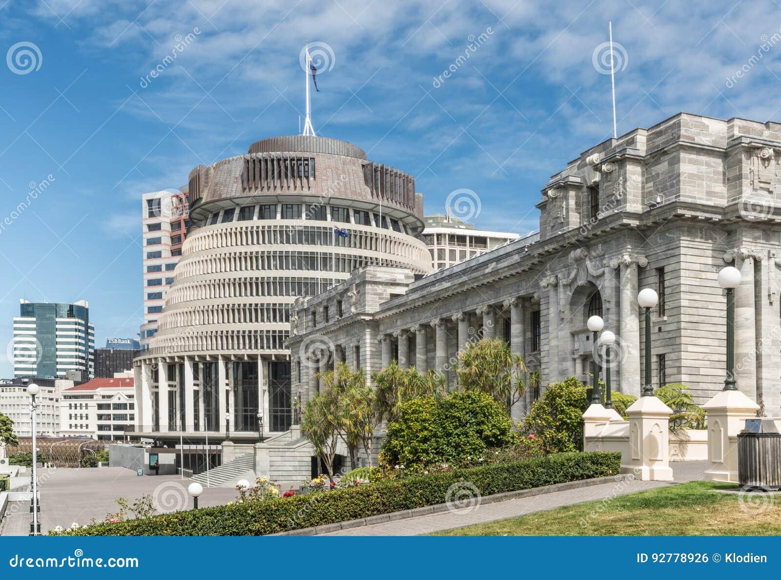 Edificio del gobierno del parlamento nacional y de la colmena en Wellingto
