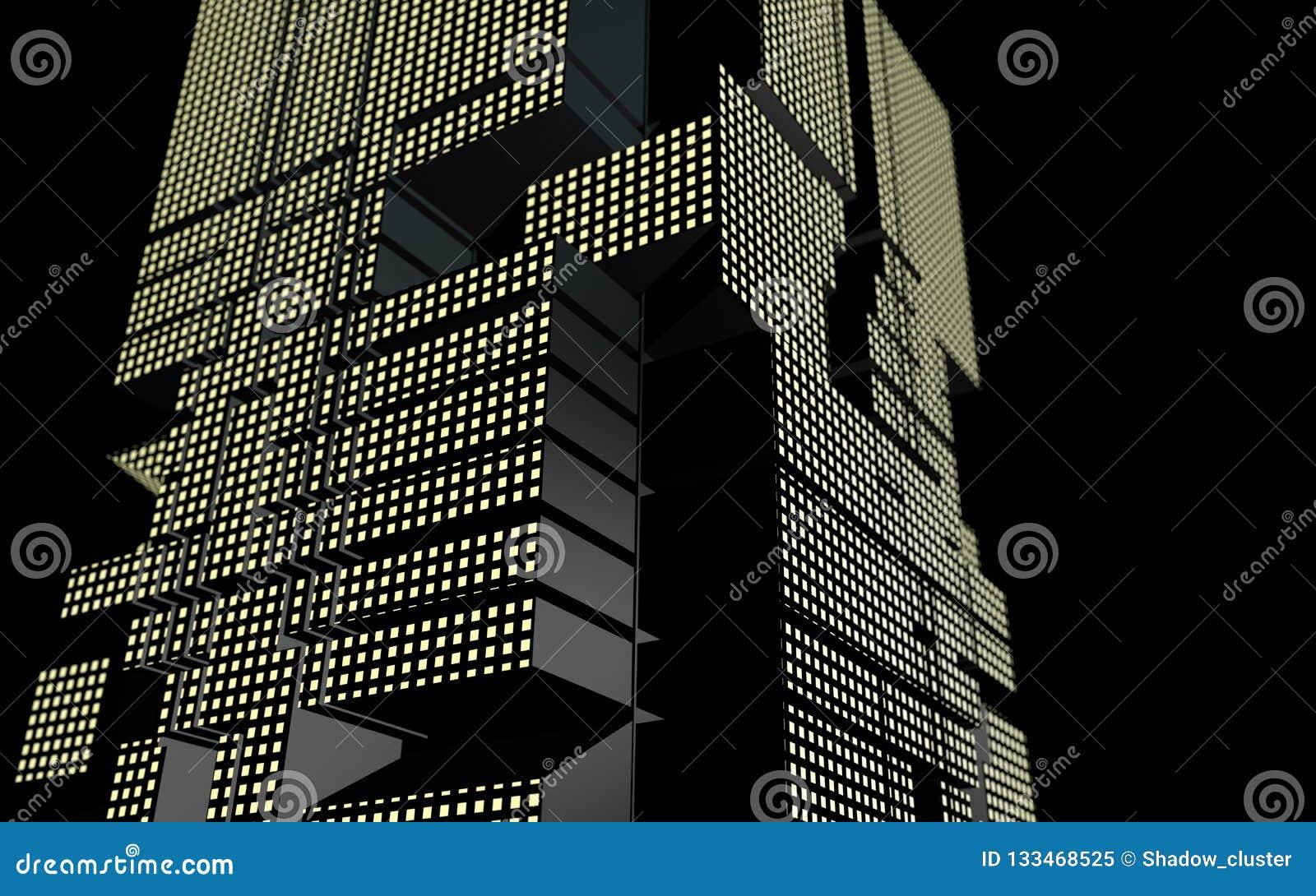 Edificio futurista de la forma geométrica abstracta en la noche