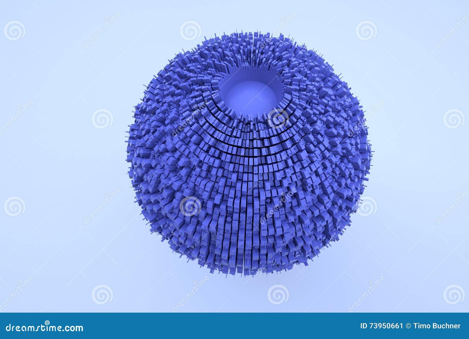 Edificio futurista del extracto 3D en el movimiento Representación agradable 3D