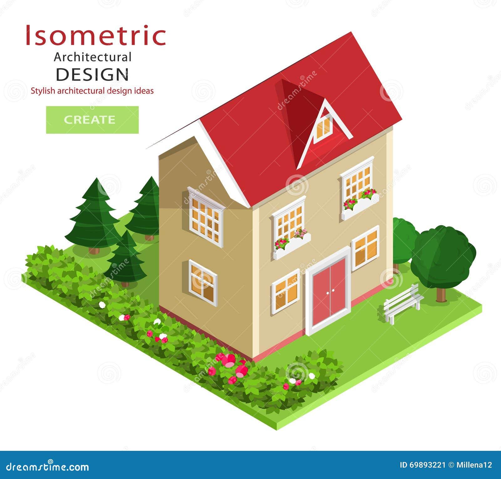 Edificio isométrico detallado colorido moderno Casa isométrica del vector del gráfico 3d con la yarda verde