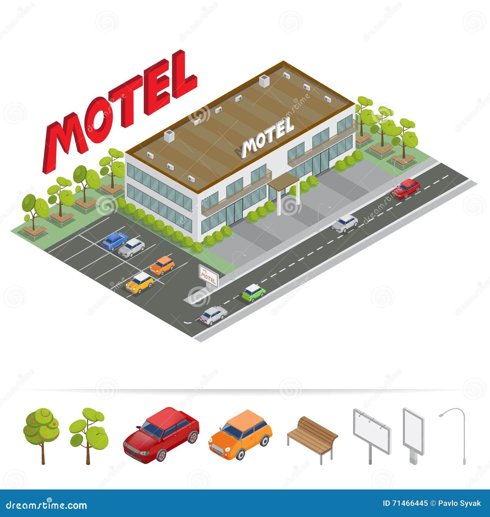Edificio isométrico Motel con el estacionamiento Motel isométrico