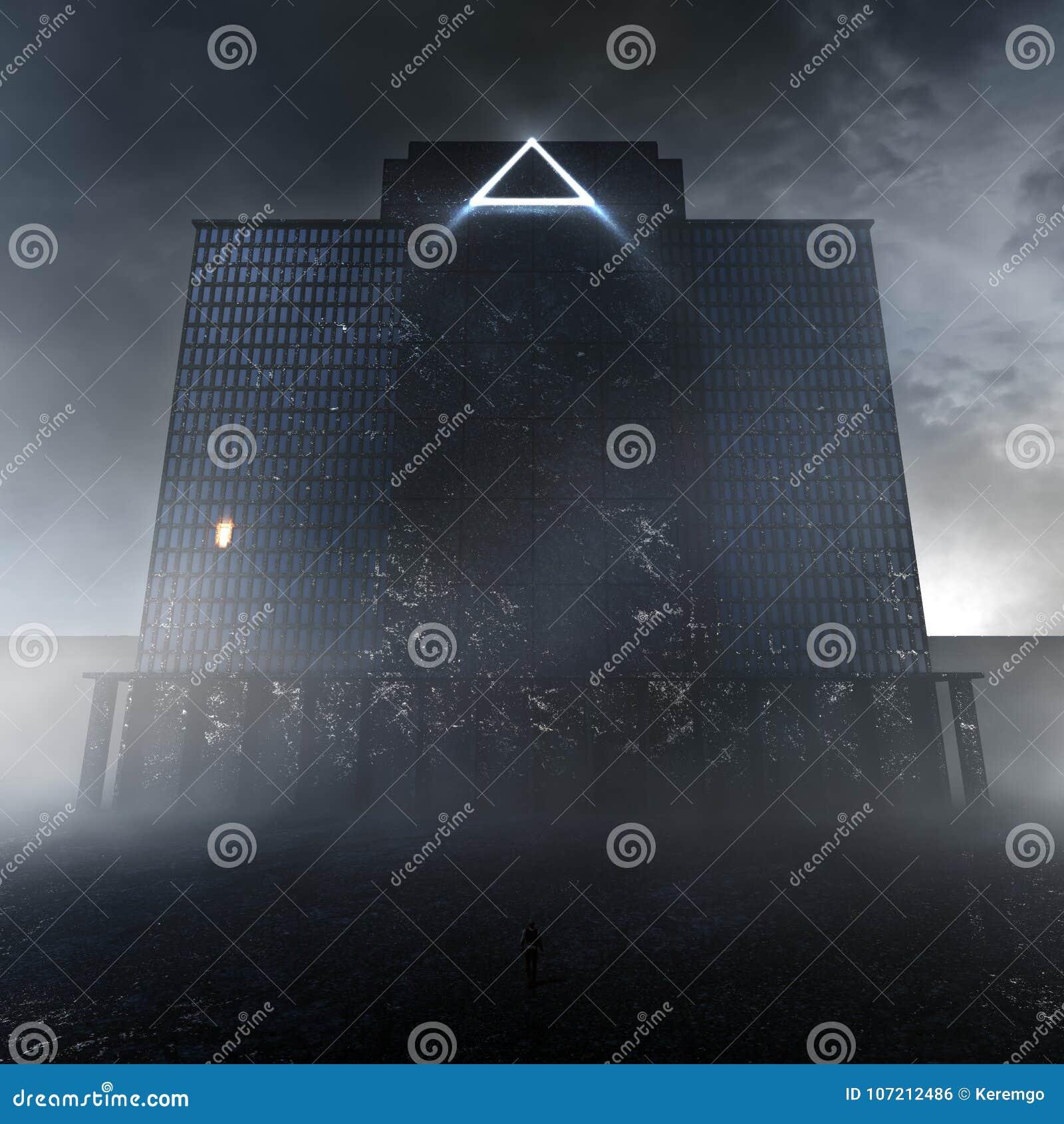 Edificio oscuro misterioso en la niebla