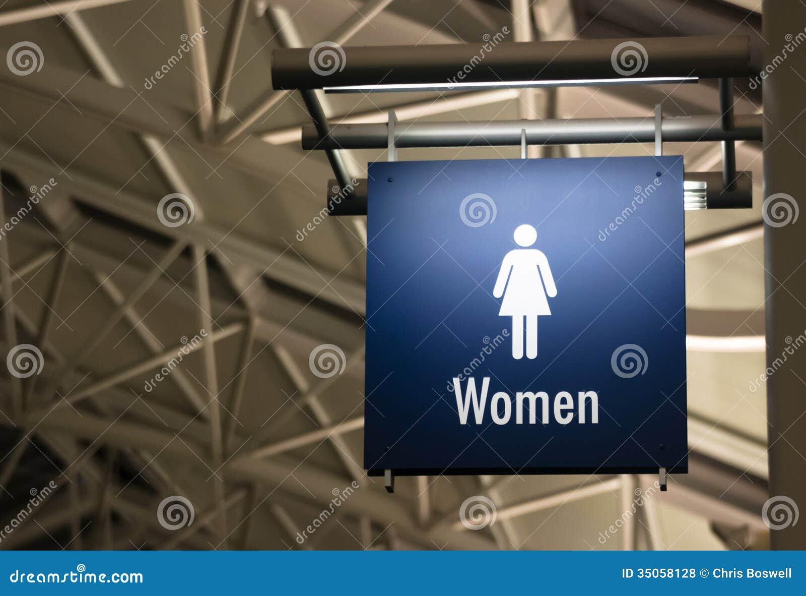 Edificio pubblico dell indicatore del segno del lavabo delle signore della toilette delle donne