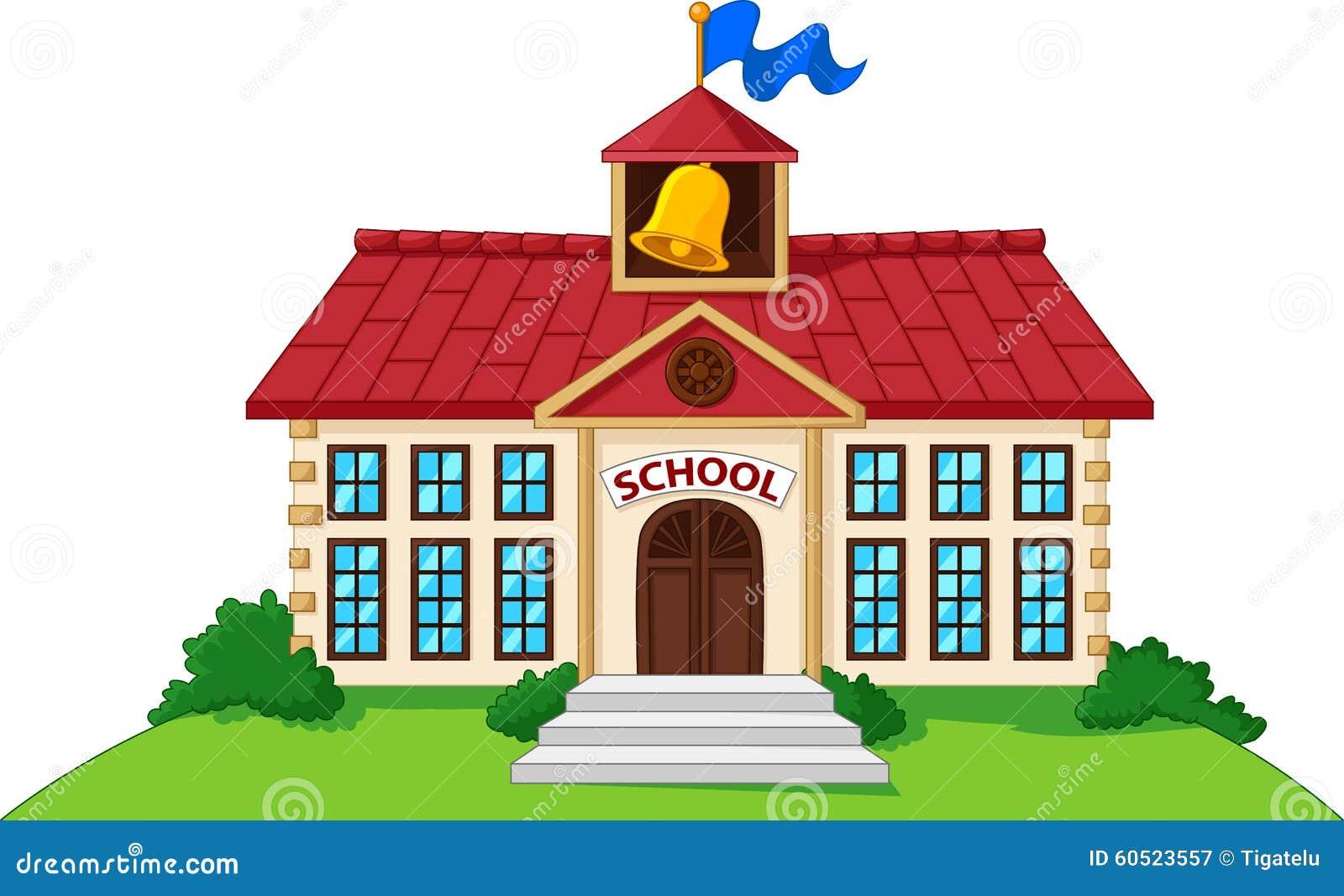 Edificio scolastico del fumetto isolato con l iarda verde