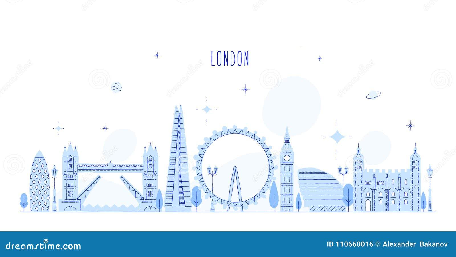 Edificios BRITÁNICOS de la ciudad del vector de Inglaterra del horizonte de Londres