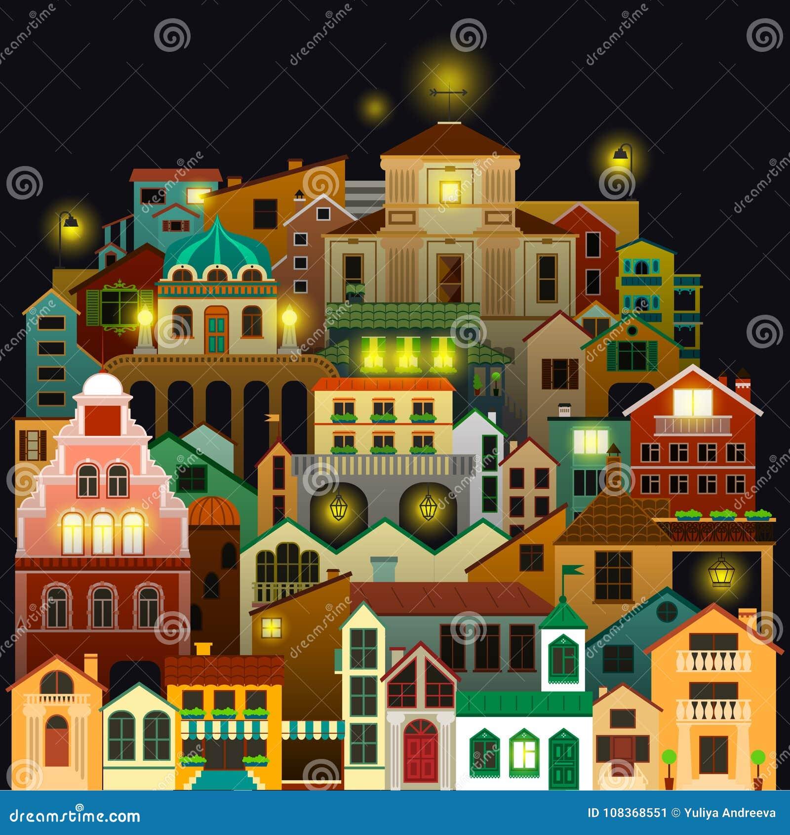 Edificios Coloridos De La Ciudad En La Noche Dibujo Del Paisaje ...