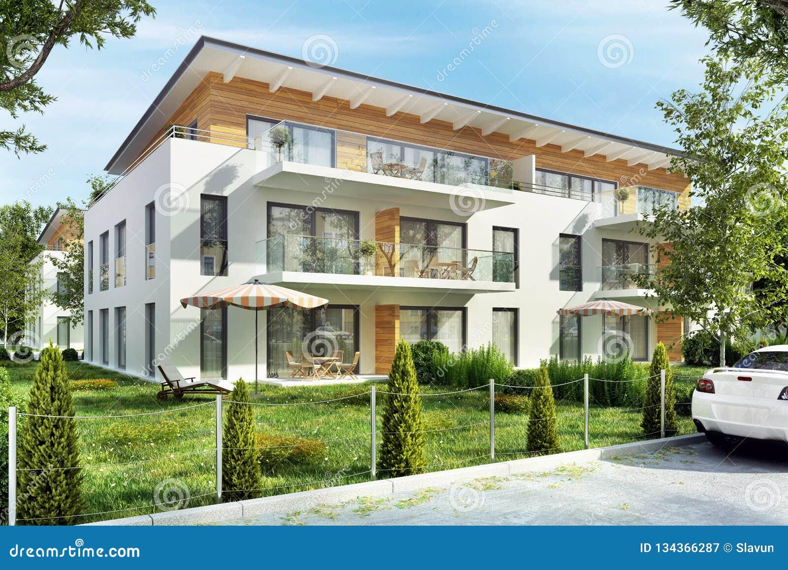 Edificios De Apartamentos Modernos Con Las Terrazas En La