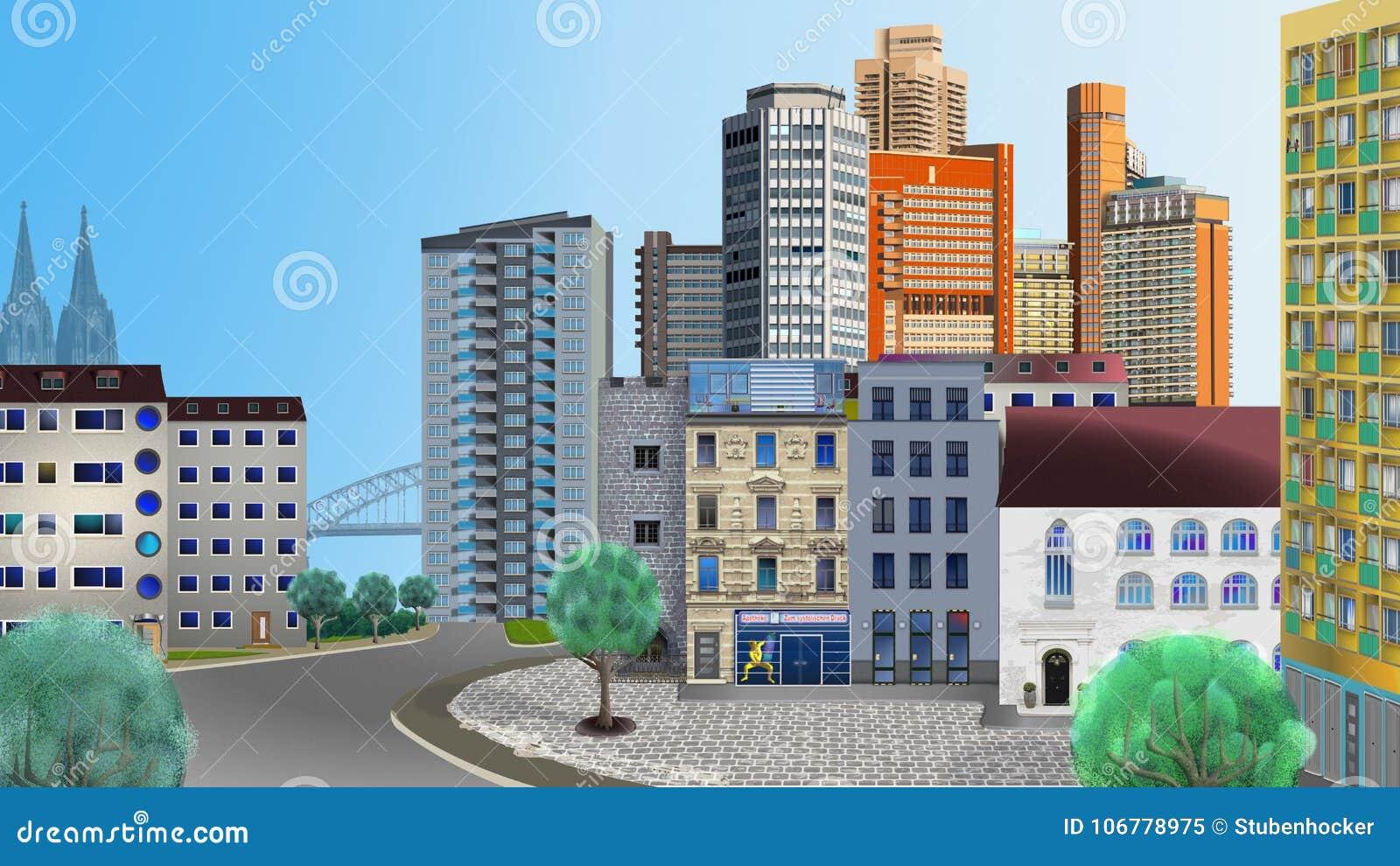 Edificios de Colonia dispuestos libremente