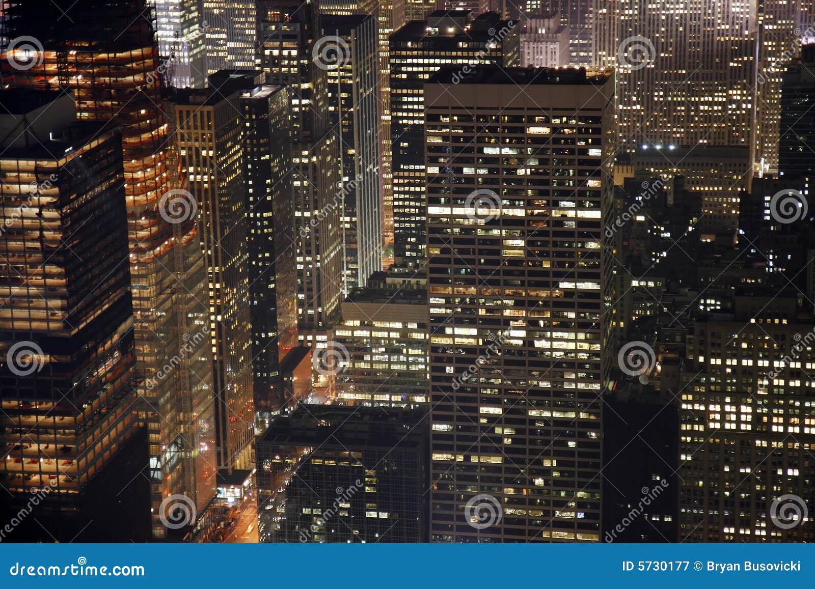 edificios manhattan midtown noche york