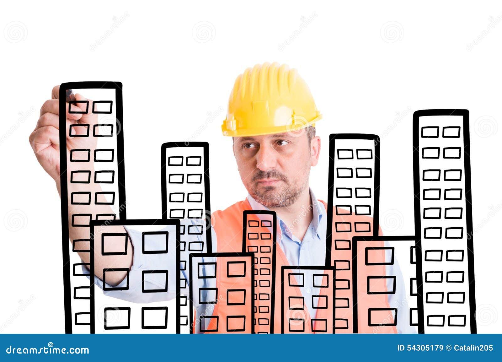 Edificios del dibujo del arquitecto o del constructor con for Arquitecto constructor