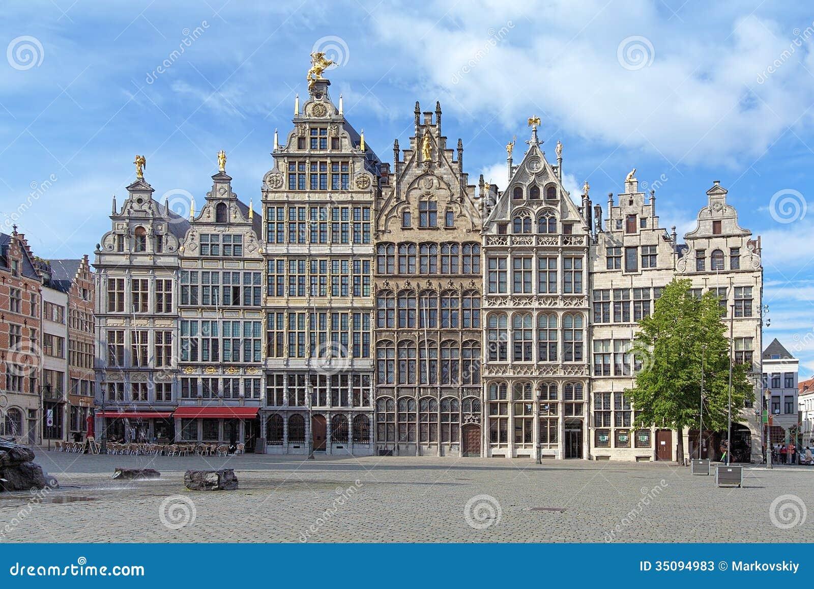 Edificios del gremio en Amberes, Bélgica
