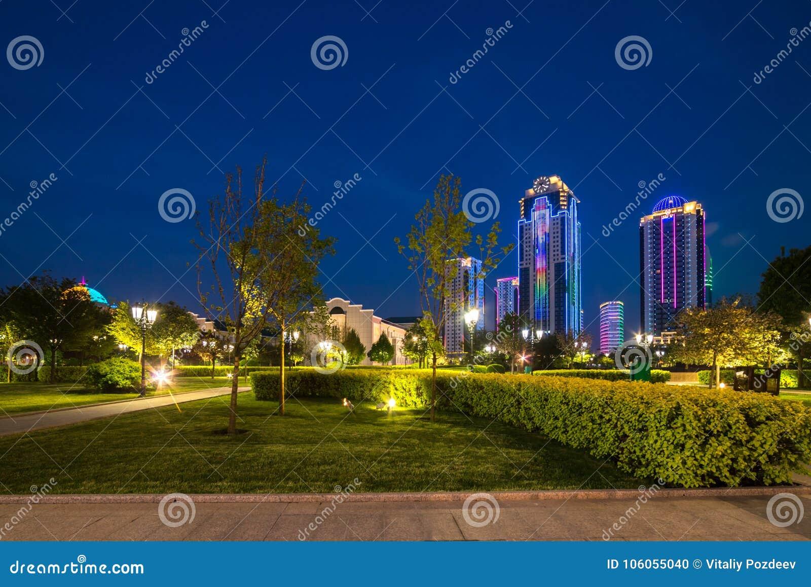 Edificios en el distrito de la ciudad de Grozny