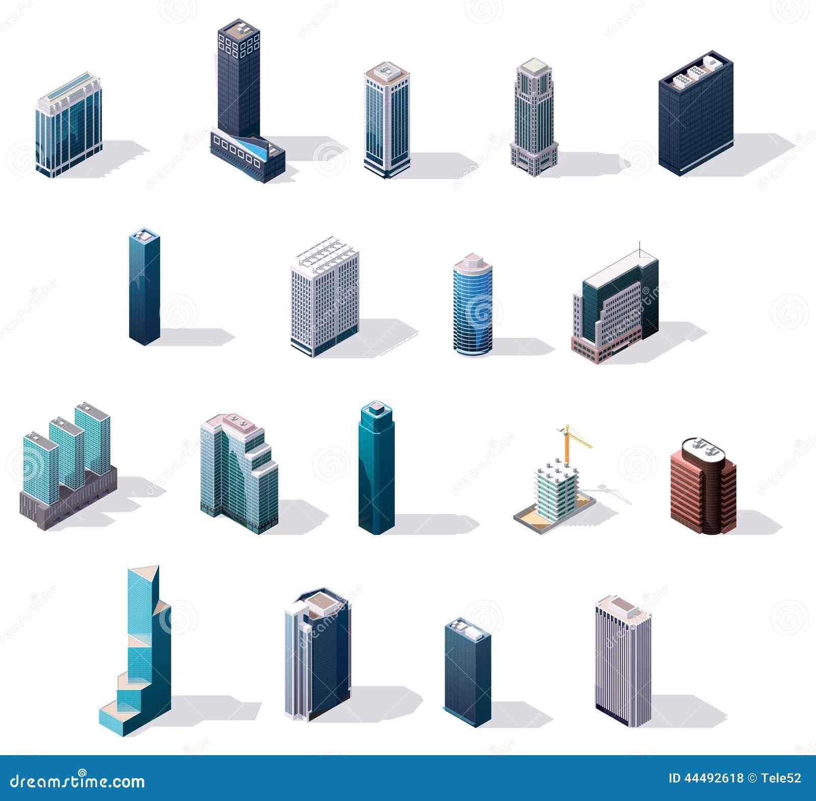 Edificios isométricos del centro de ciudad del vector fijados