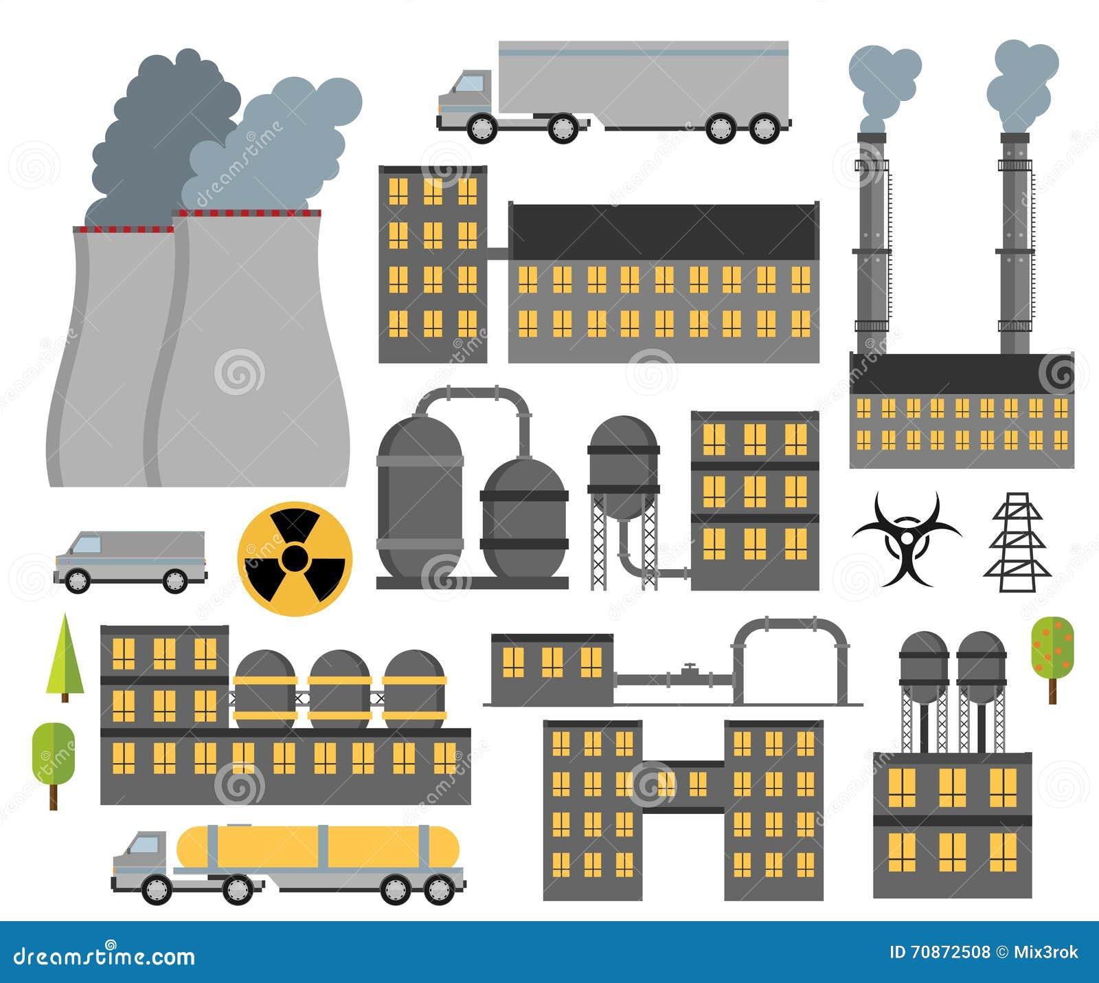 Edificios Planos Industriales Modernos Fijados Plantas Y
