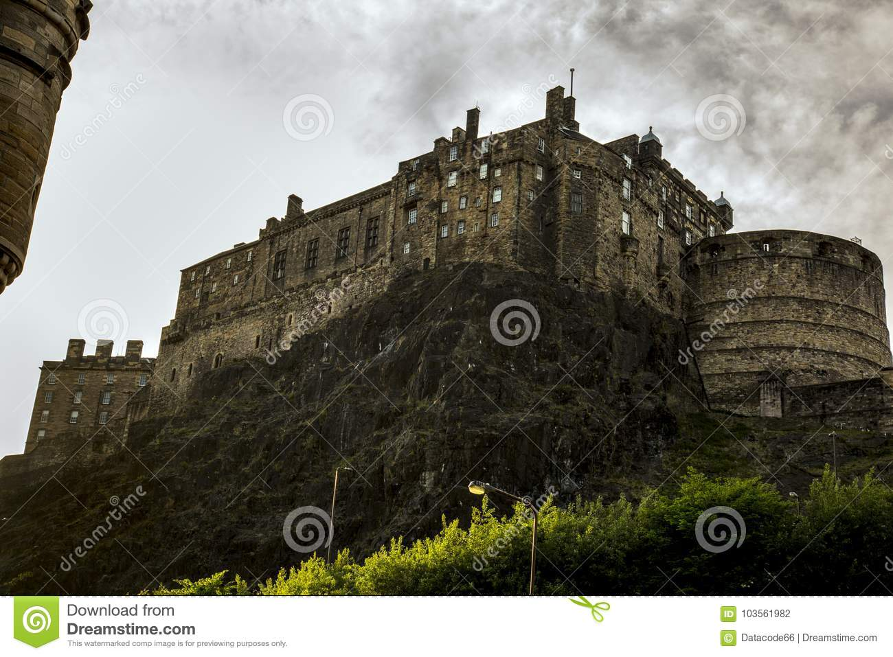 Download Edinburgh Castle Under A Moody Sky Stock Photo Image Of Hill Main