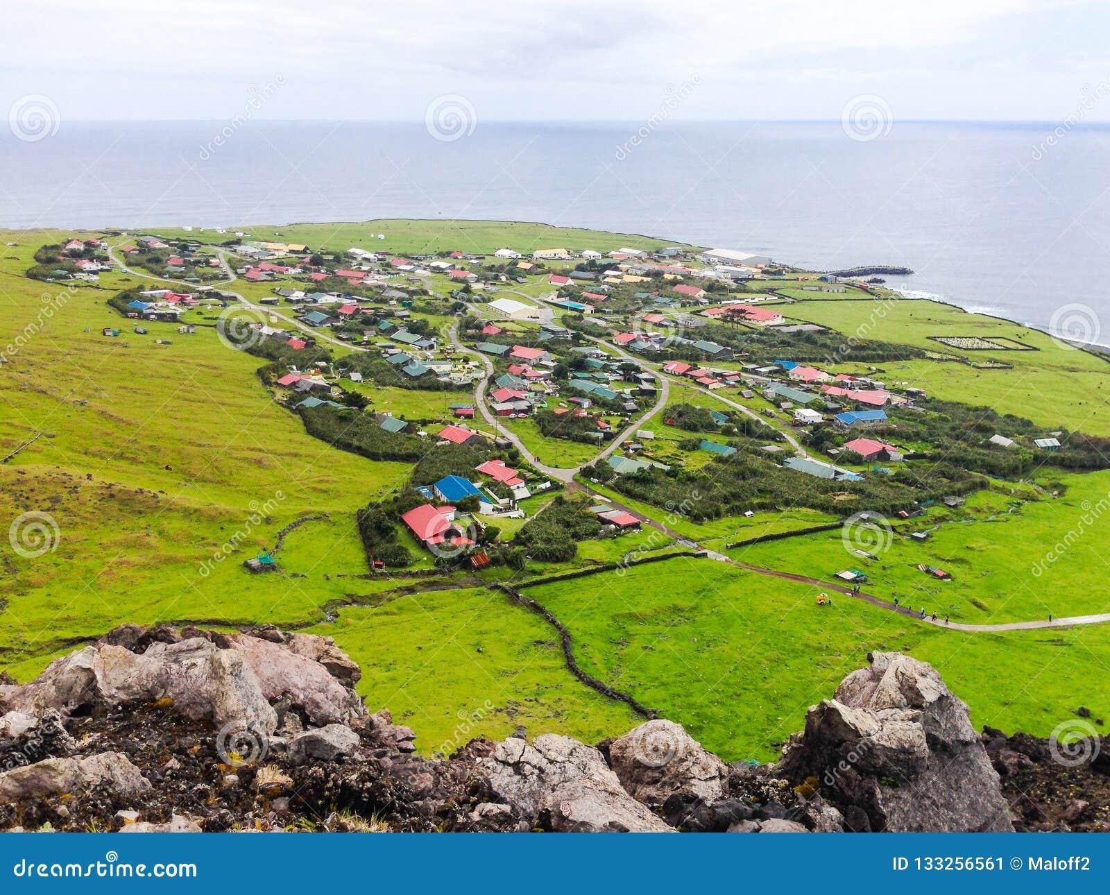 Edinburgh des sieben See-Stadt-Luft- Panoramablicks, Tristan da Cunha, die entfernt bewohnte Insel, Süd-Atlantik
