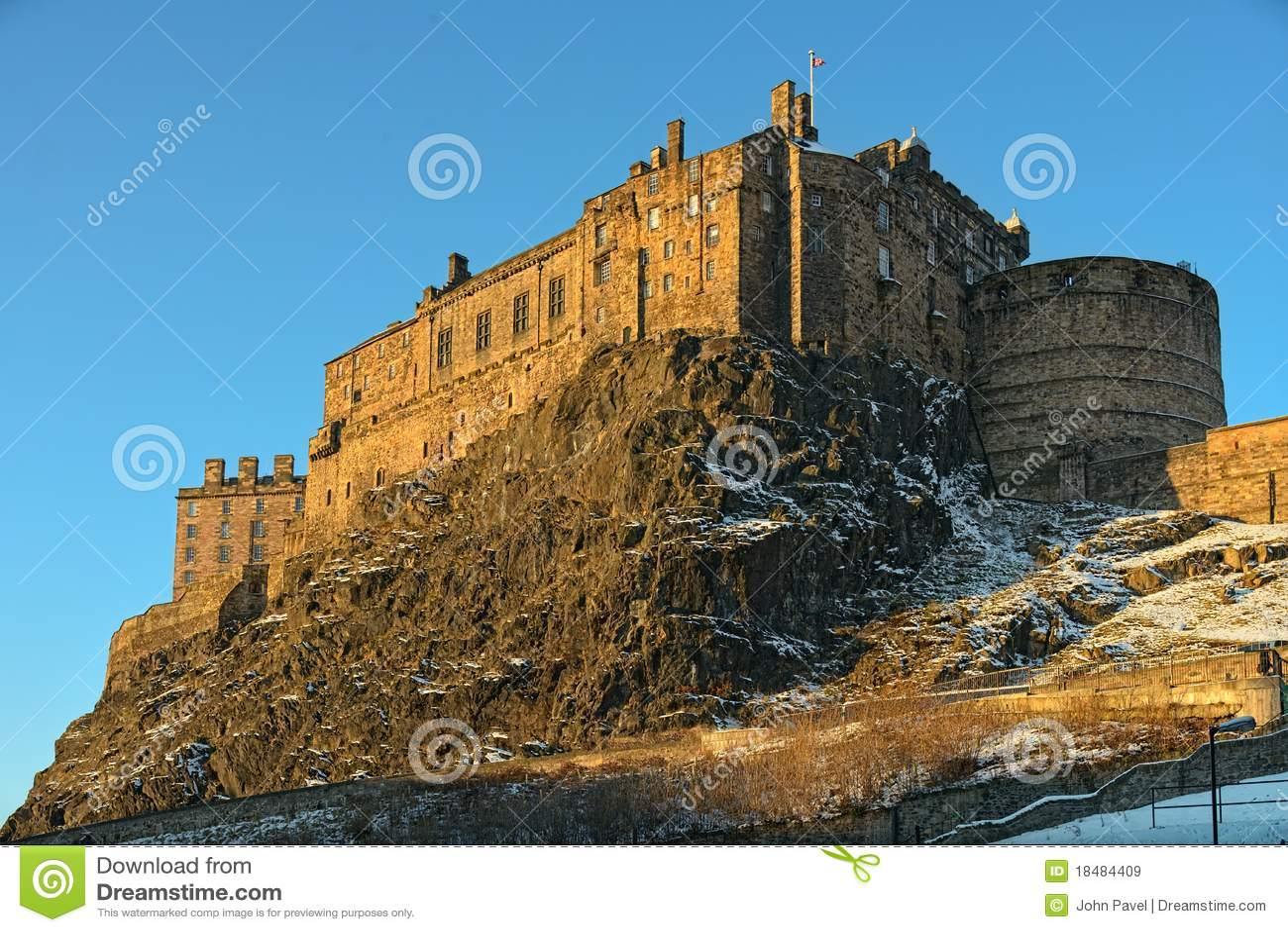 Edinburgh grodowa zima lekka uk Scotland