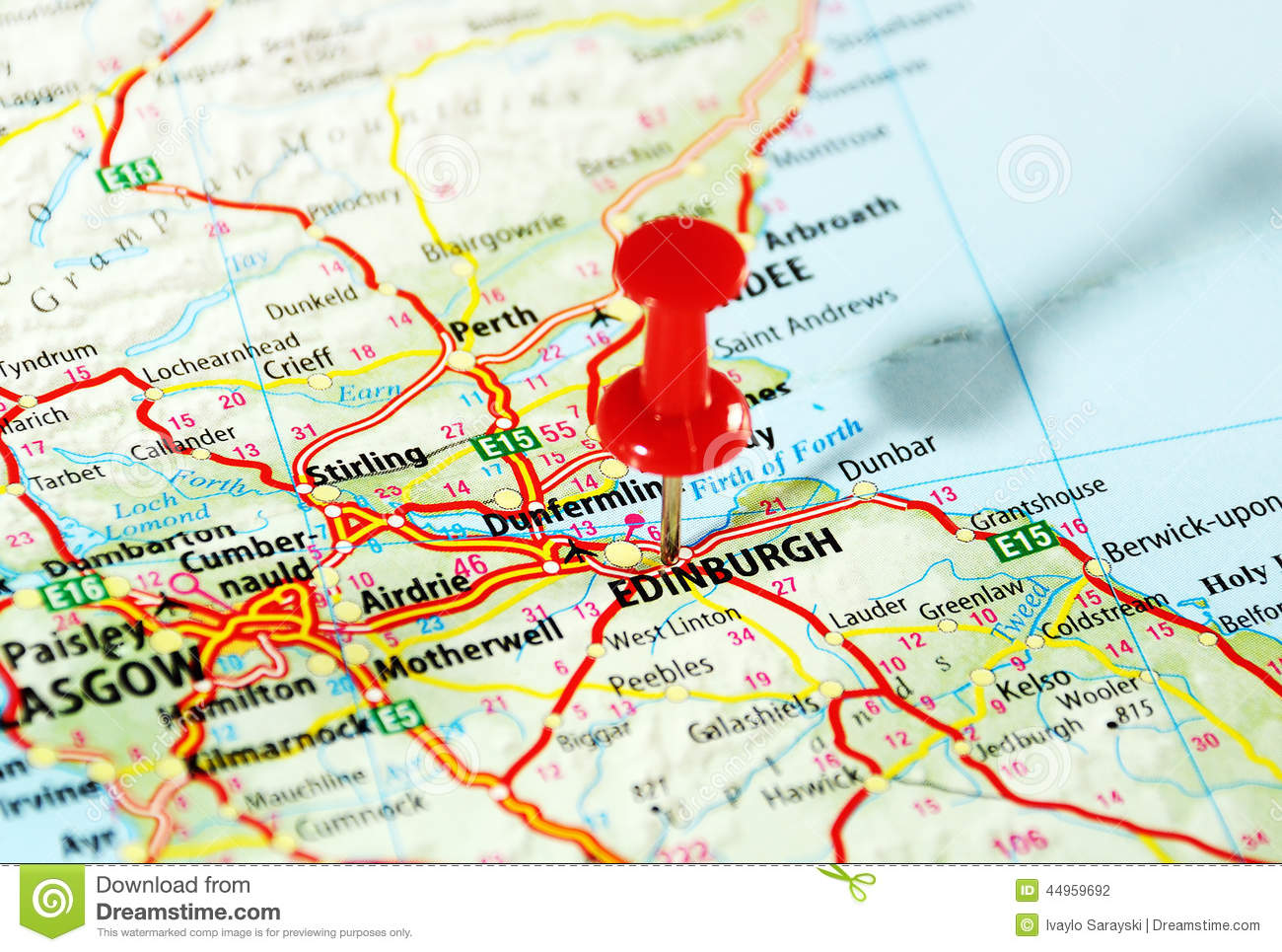 Edinburgh Scotland Map Photo Image 44959692 – Scotland Travel Map