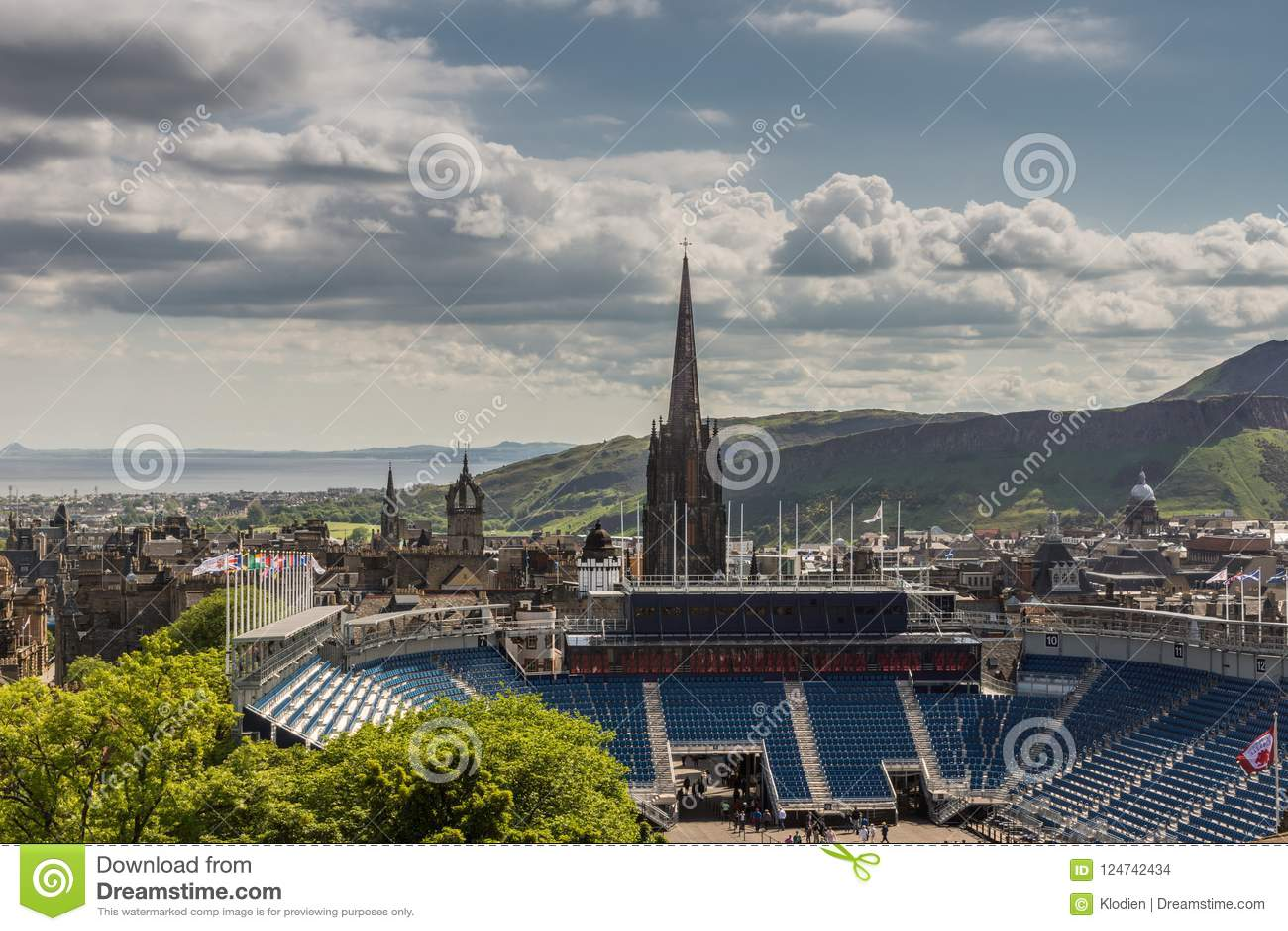 View from Castle along Royal Mile, Edinburgh, Scotland.