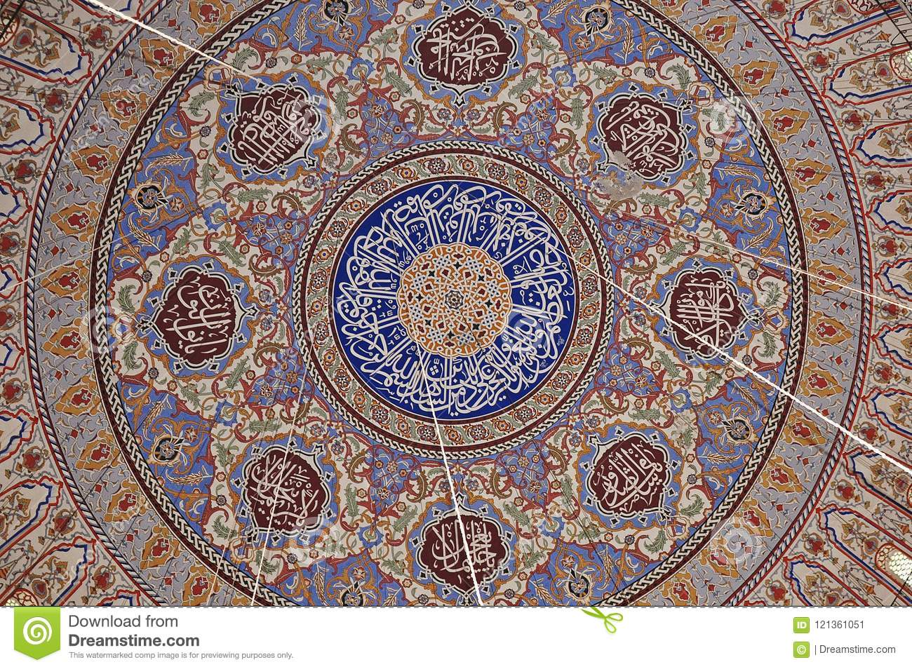 Edirne Selimiye Mosque roof pattern in Turkey. The mosque was commissioned by Sultan Selim II, and was built by architect Mimar S