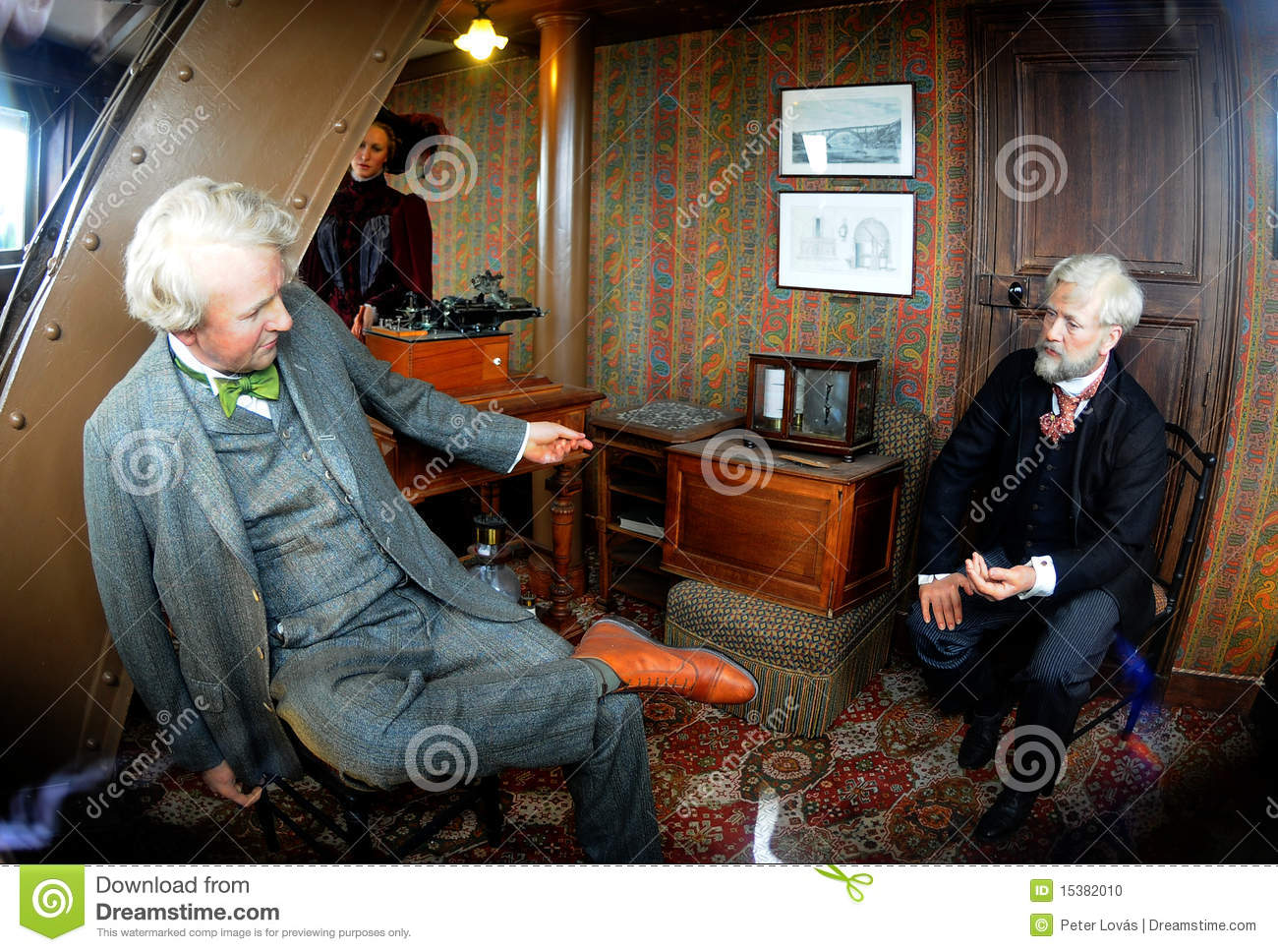 Eiffel sits in his office, hosting American inventor, Thomas Edison ...