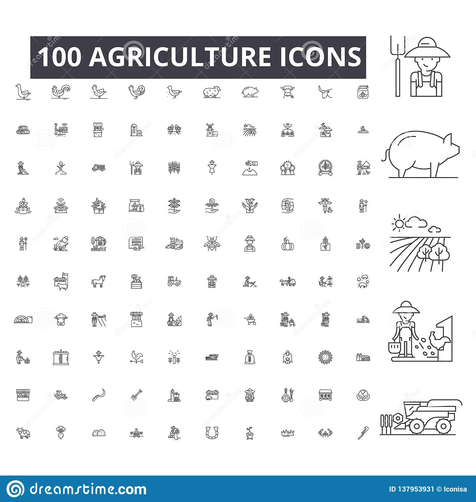 Editable εικονίδια γραμμών γεωργίας, διάνυσμα 100 που τίθεται στο άσπρο υπόβαθρο Μαύρες απεικονίσεις περιλήψεων γεωργίας, σημάδια