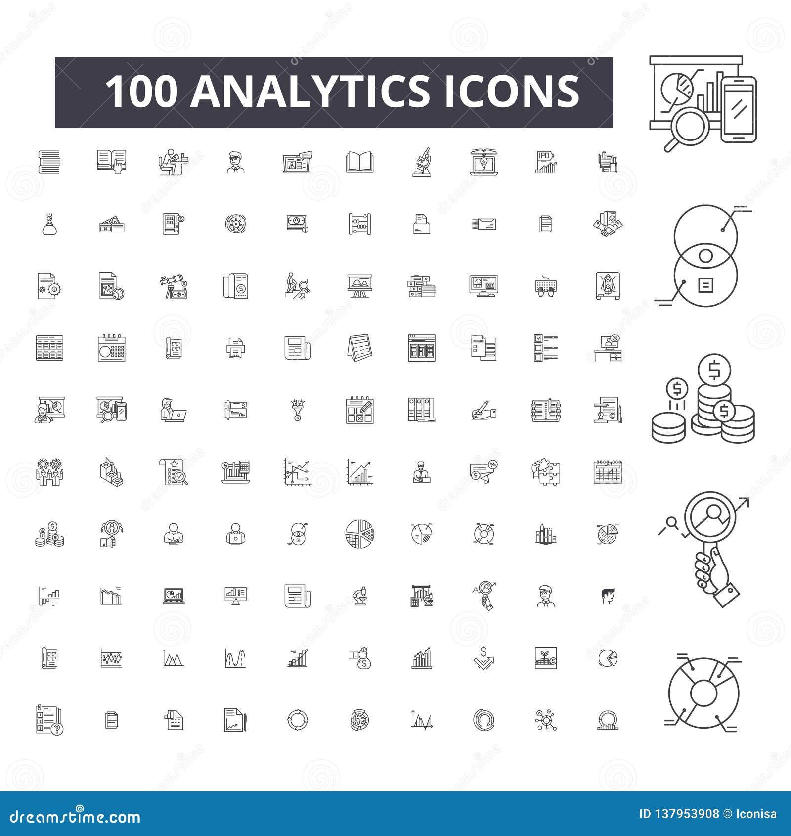 Editable εικονίδια γραμμών Analytics, 100 διανυσματικό σύνολο, συλλογή Μαύρες απεικονίσεις περιλήψεων Analytics, σημάδια, σύμβολα
