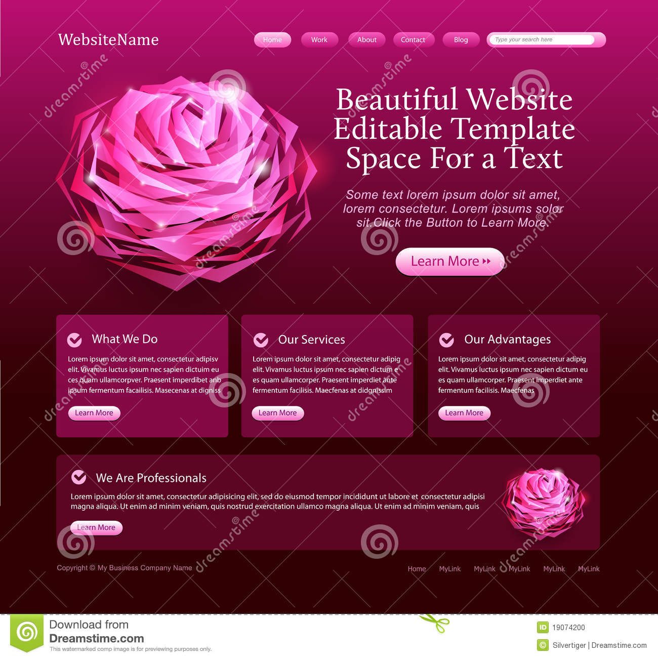 Editable Beautiful Website Template Stock Photo Image