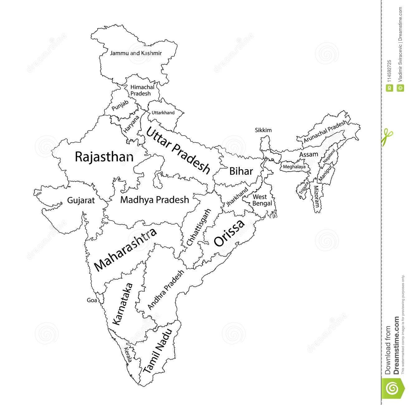Editable Blank Map Of India. Administrative Divisions Of India