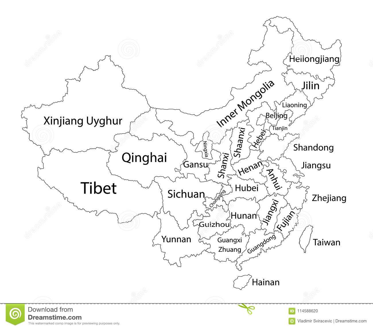 Editable Blank Vector Map Of China Administrative Divisions Of China Counties Separated Provinces Stock Illustration Illustration Of Digital Country 114588620