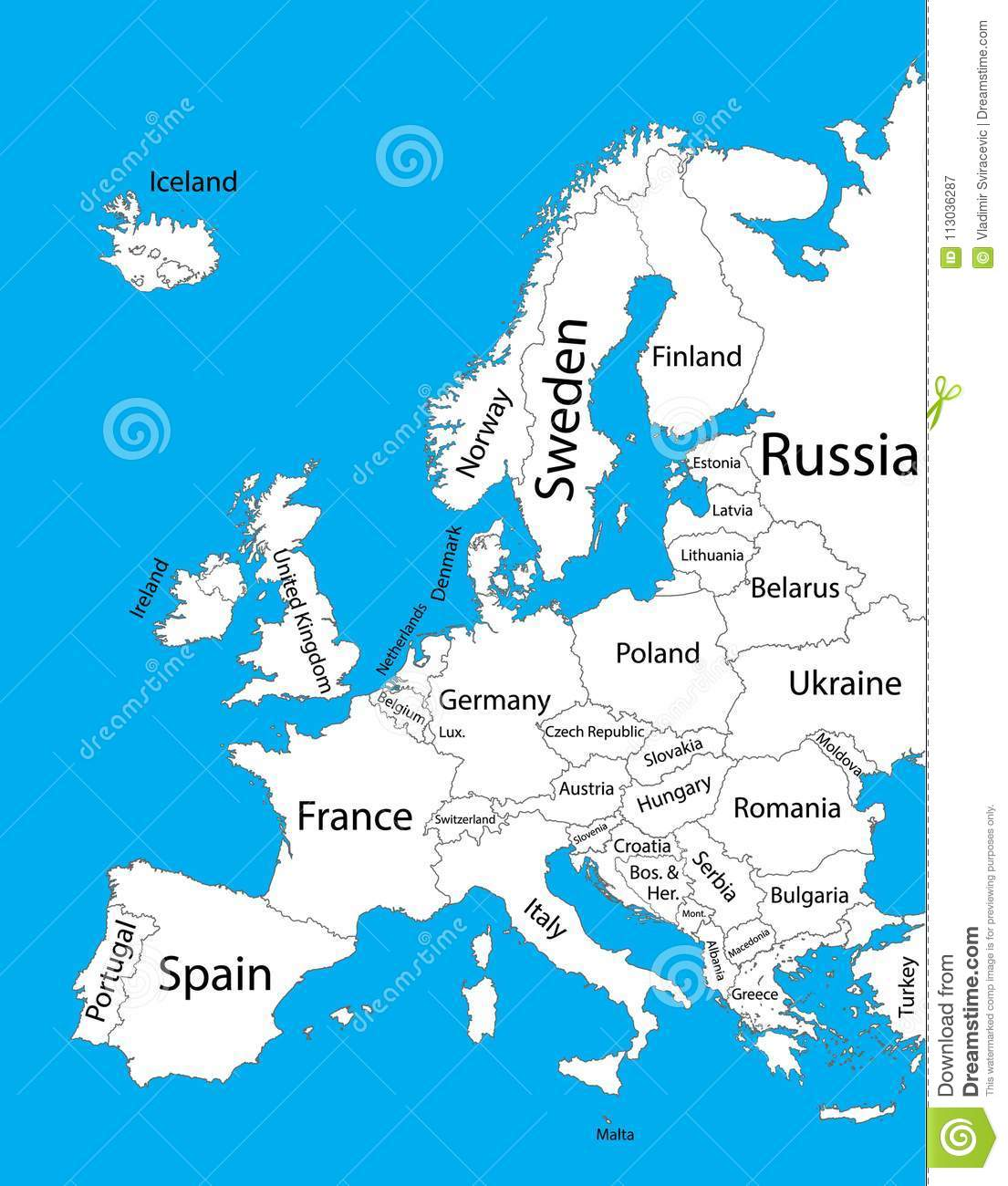Editable Blank Vector Map Of Europe Vector Map Of Europe Isolated