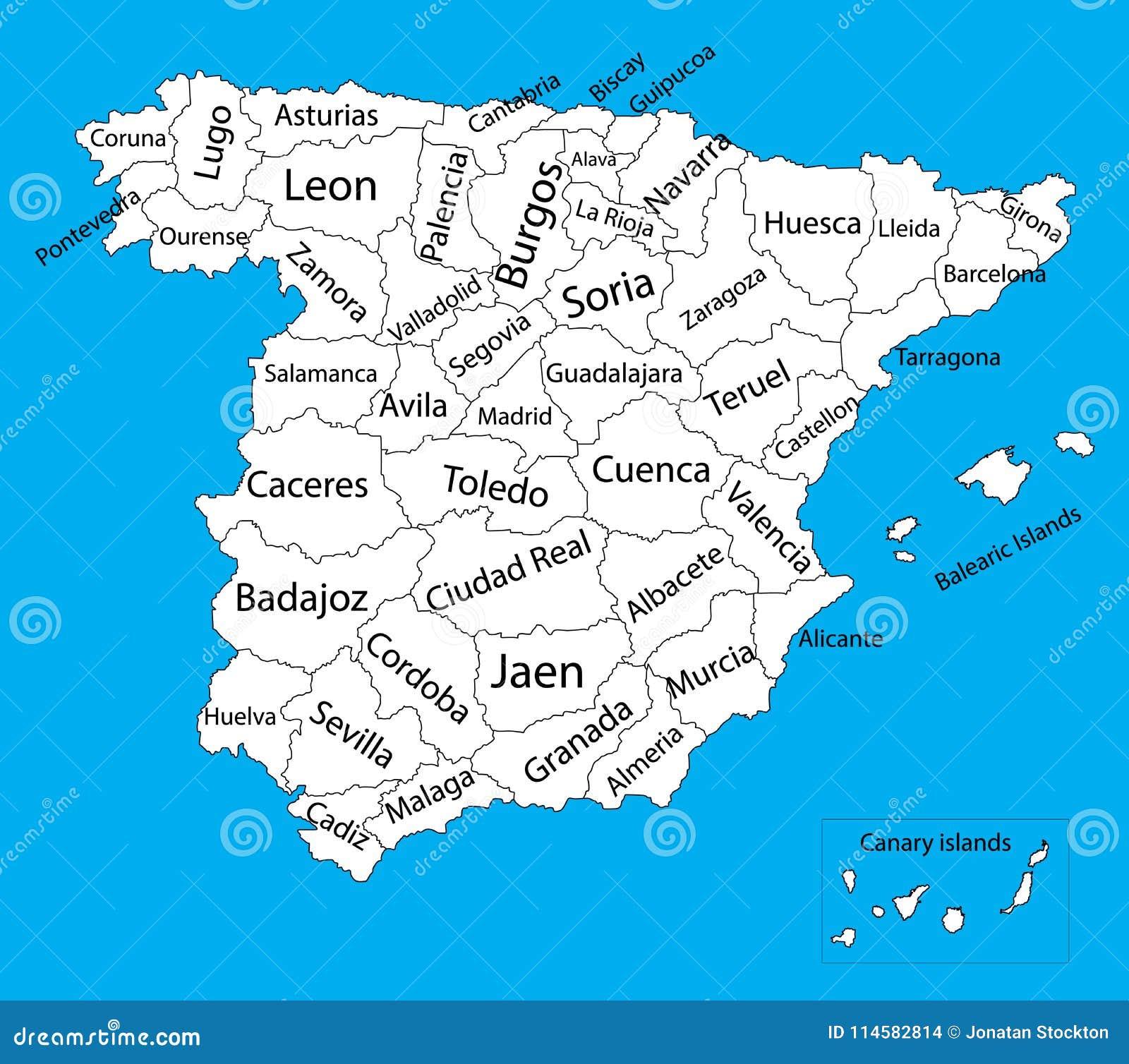 Map Of Spain Blank.Editable Blank Vector Map Silhouette Of Spain Stock Illustration