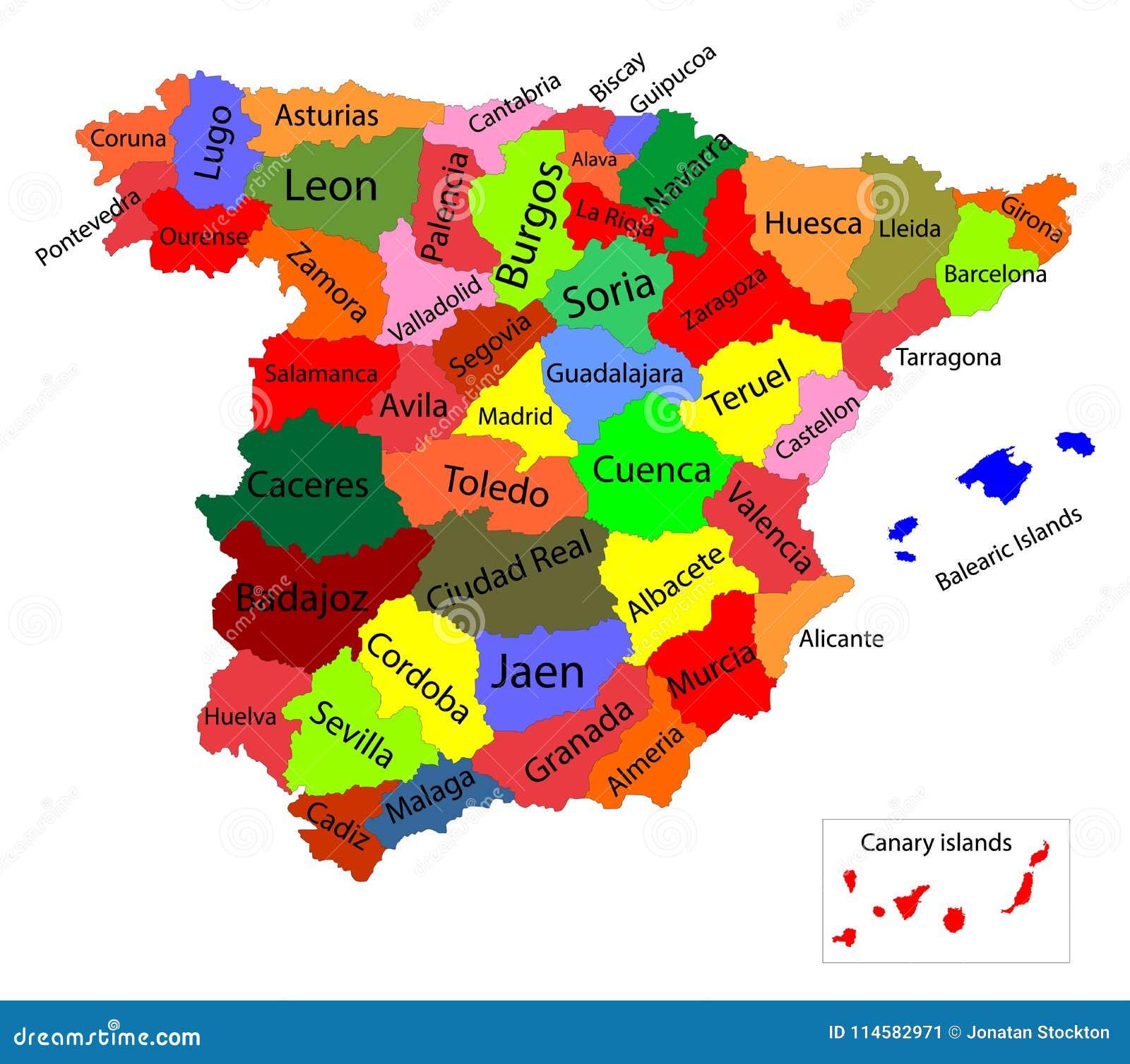 Autonome Regionen Spanien Karte.Editable Bunte Karte Von Spanien Autonome Gemeinschaften Von